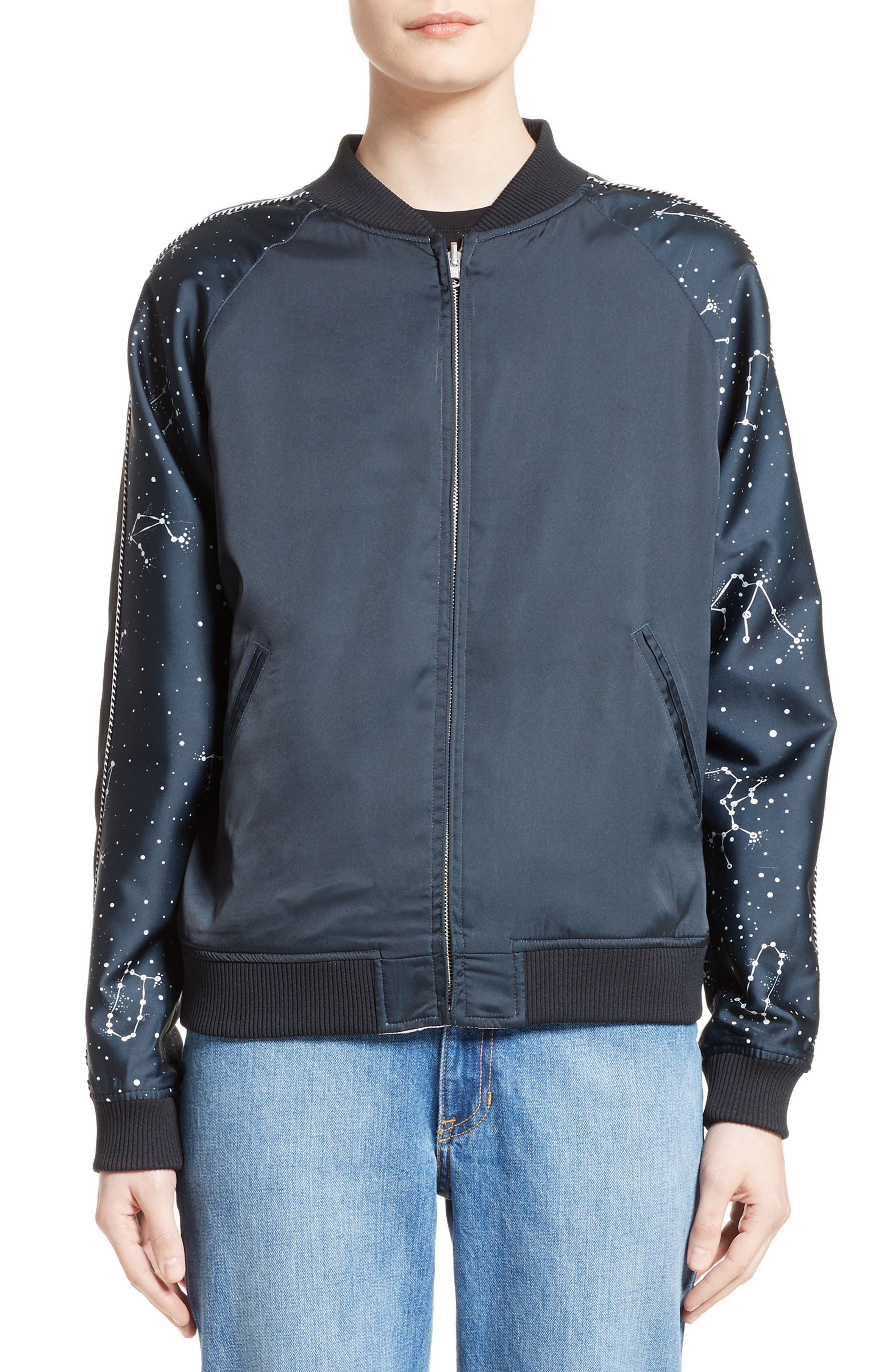 Alternate Image 1 Selected - Opening Ceremony Night Sky Reversible Silk Bomber Jacket