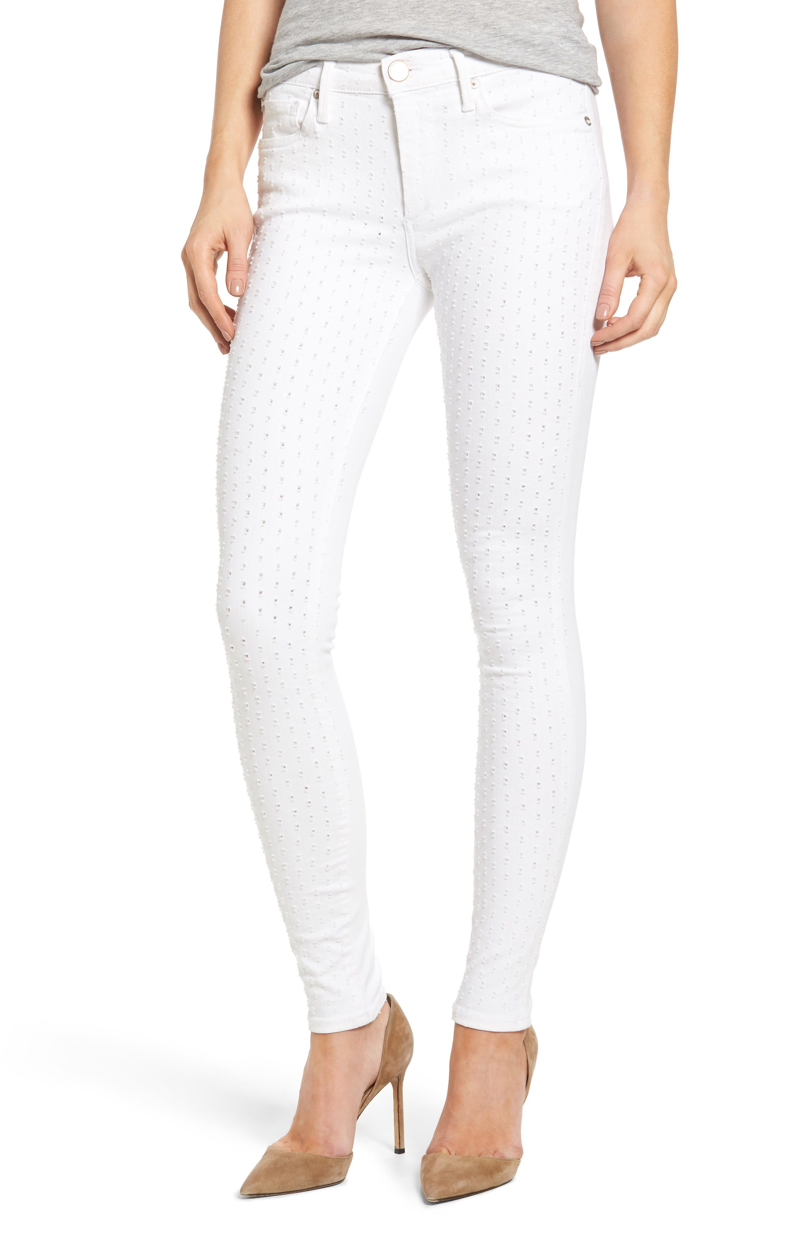 True Religion Brand Jeans Halle Eyelet Skinny Jeans (Optic White)