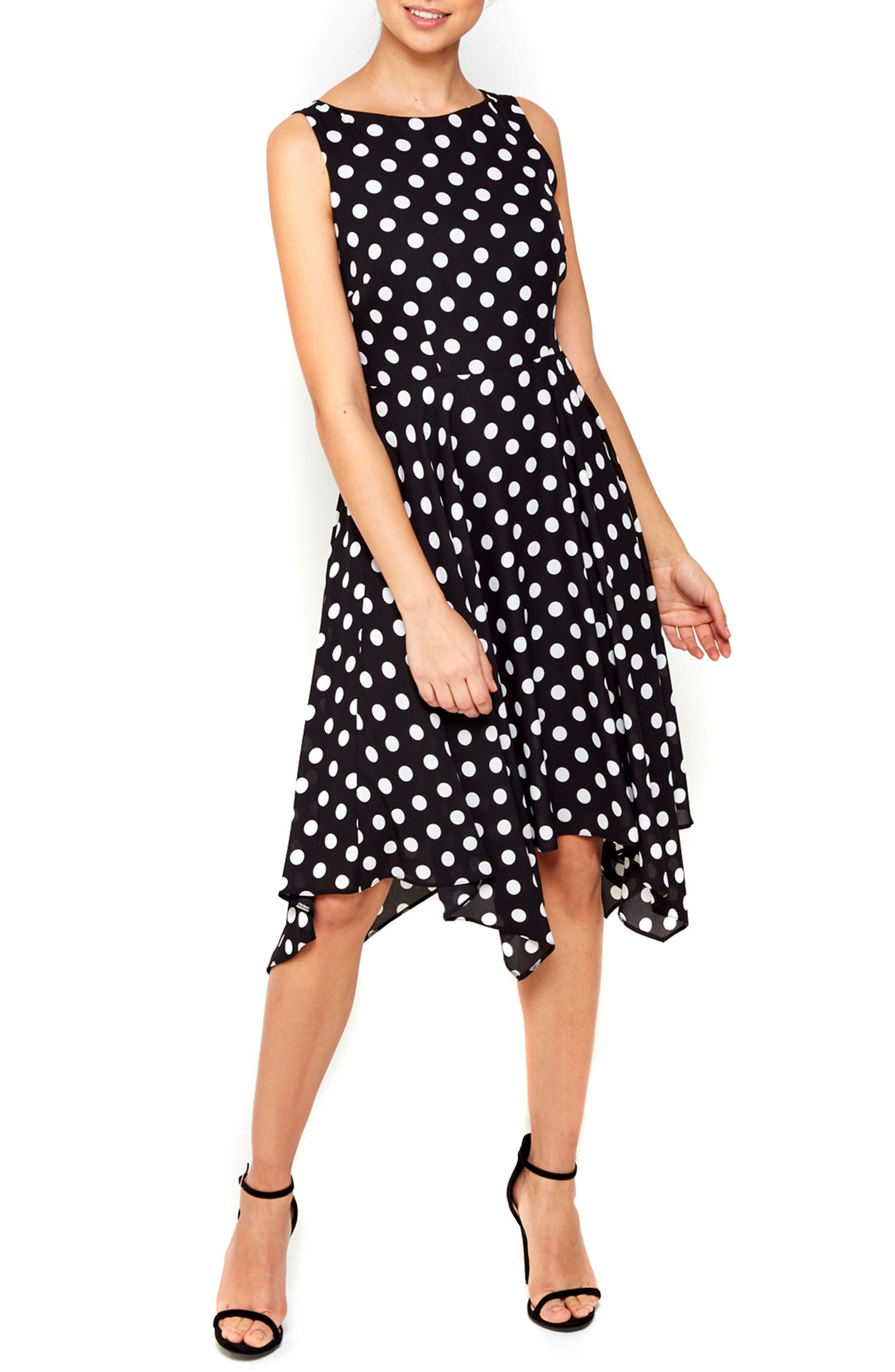 Main Image - Wallis Dot Print Handkerchief Hem Dress