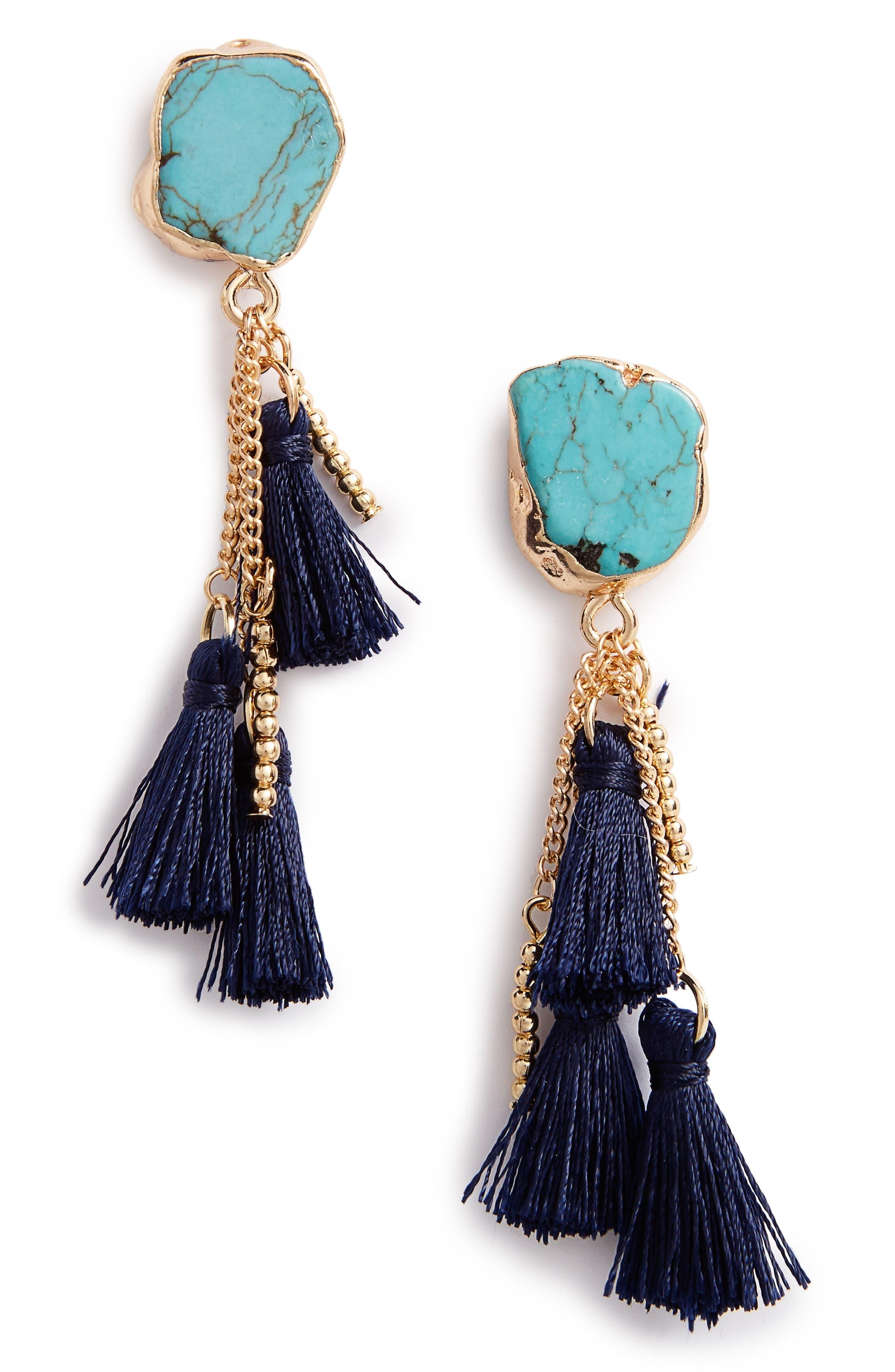 Sole Society Stone Tassel Drop Earrings