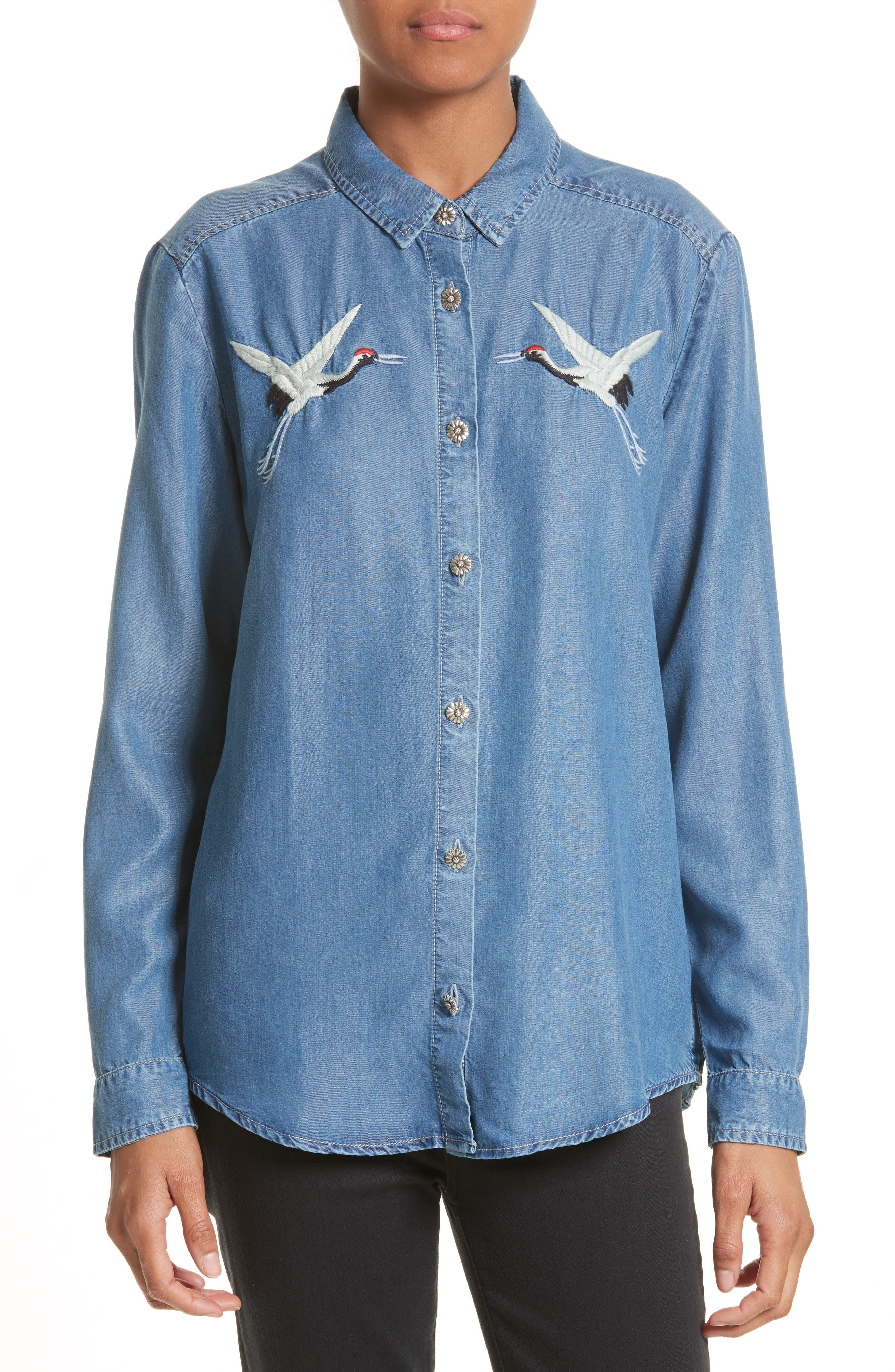 Alternate Image 1 Selected - The Kooples Embroidered Denim Shirt