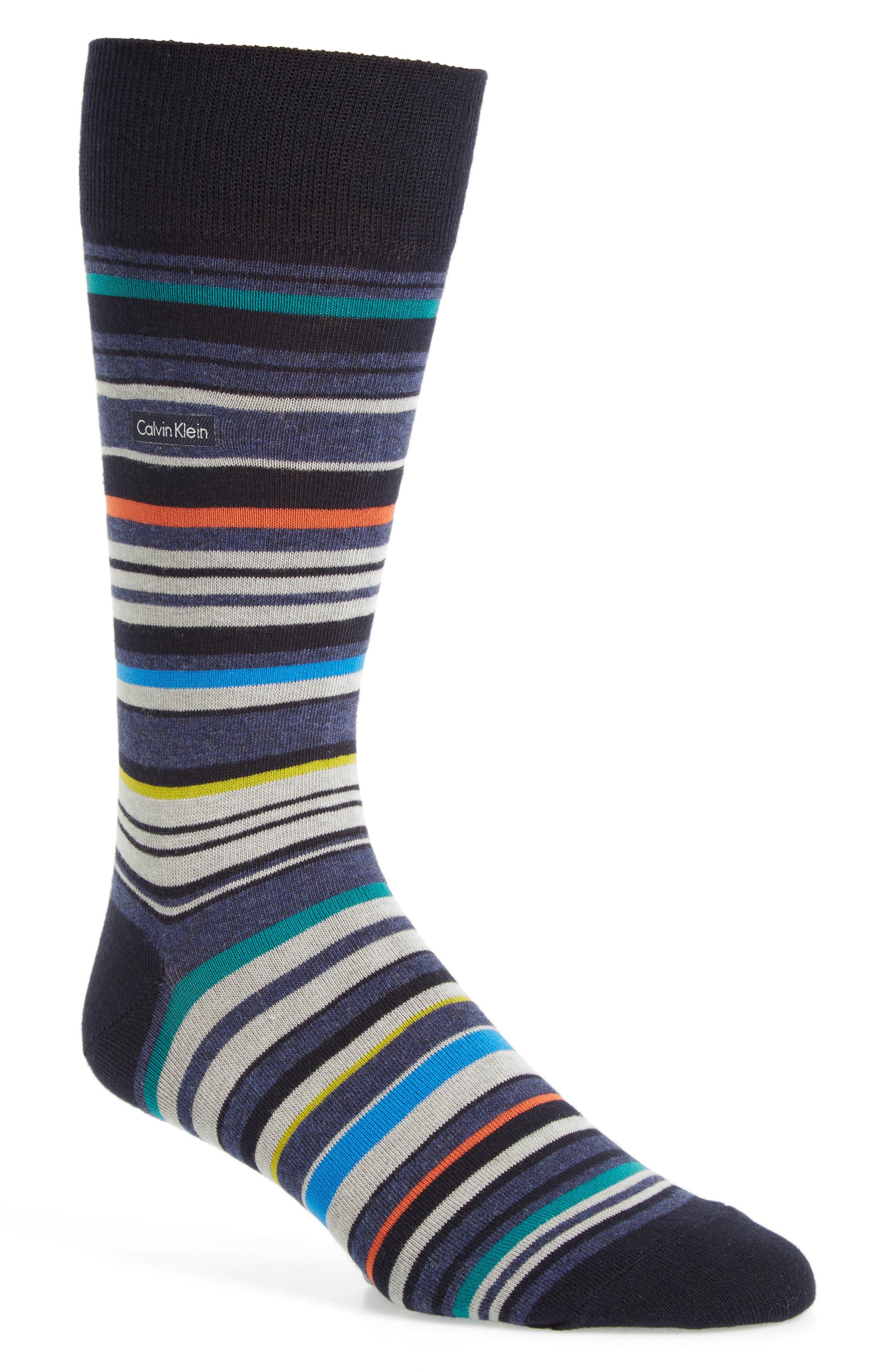 Alternate Image 1 Selected - Calvin Klein Multistripe Emblem Socks