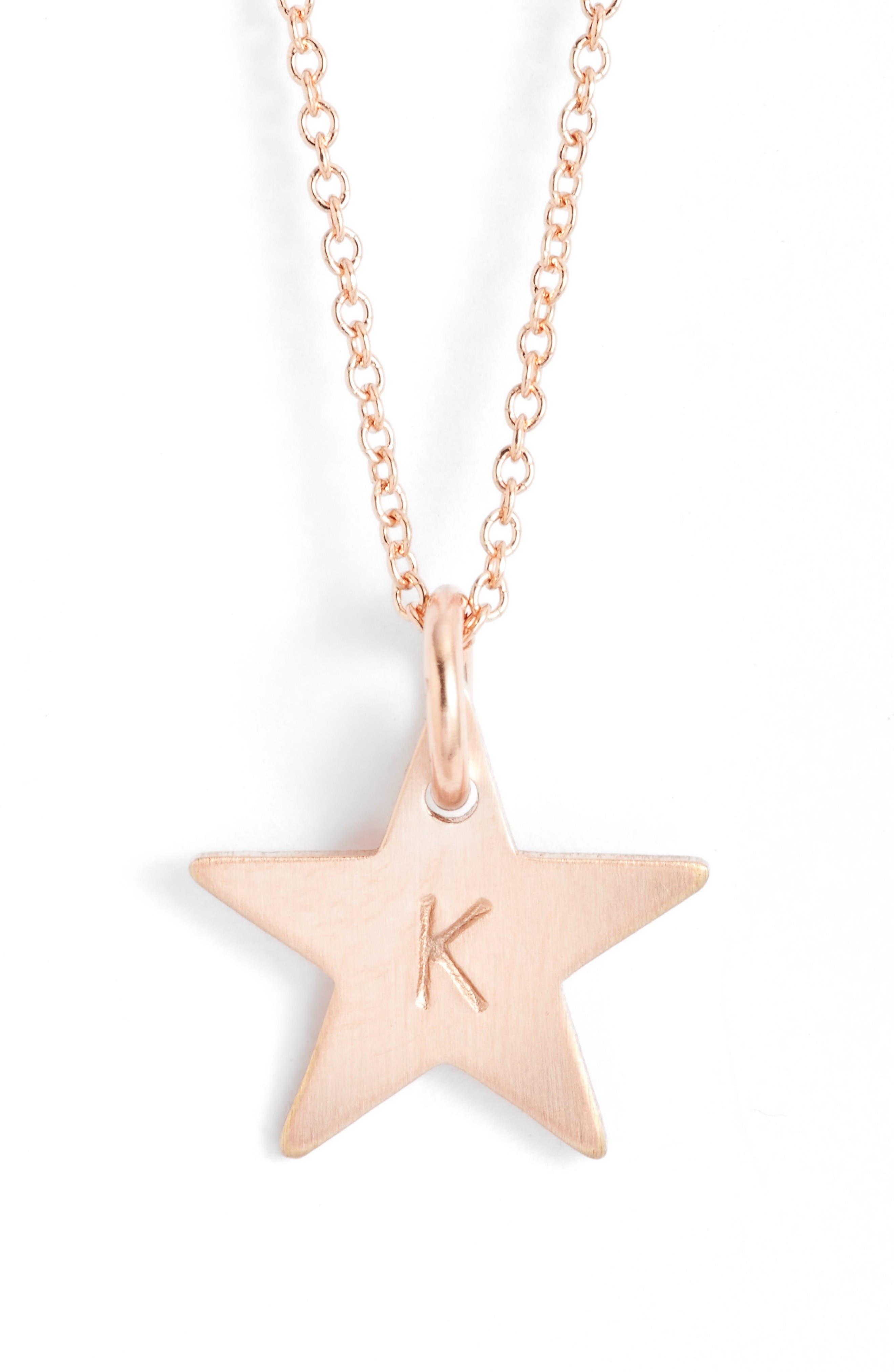 Nashelle 14k-Rose Gold Fill Initial Mini Star Pendant Necklace
