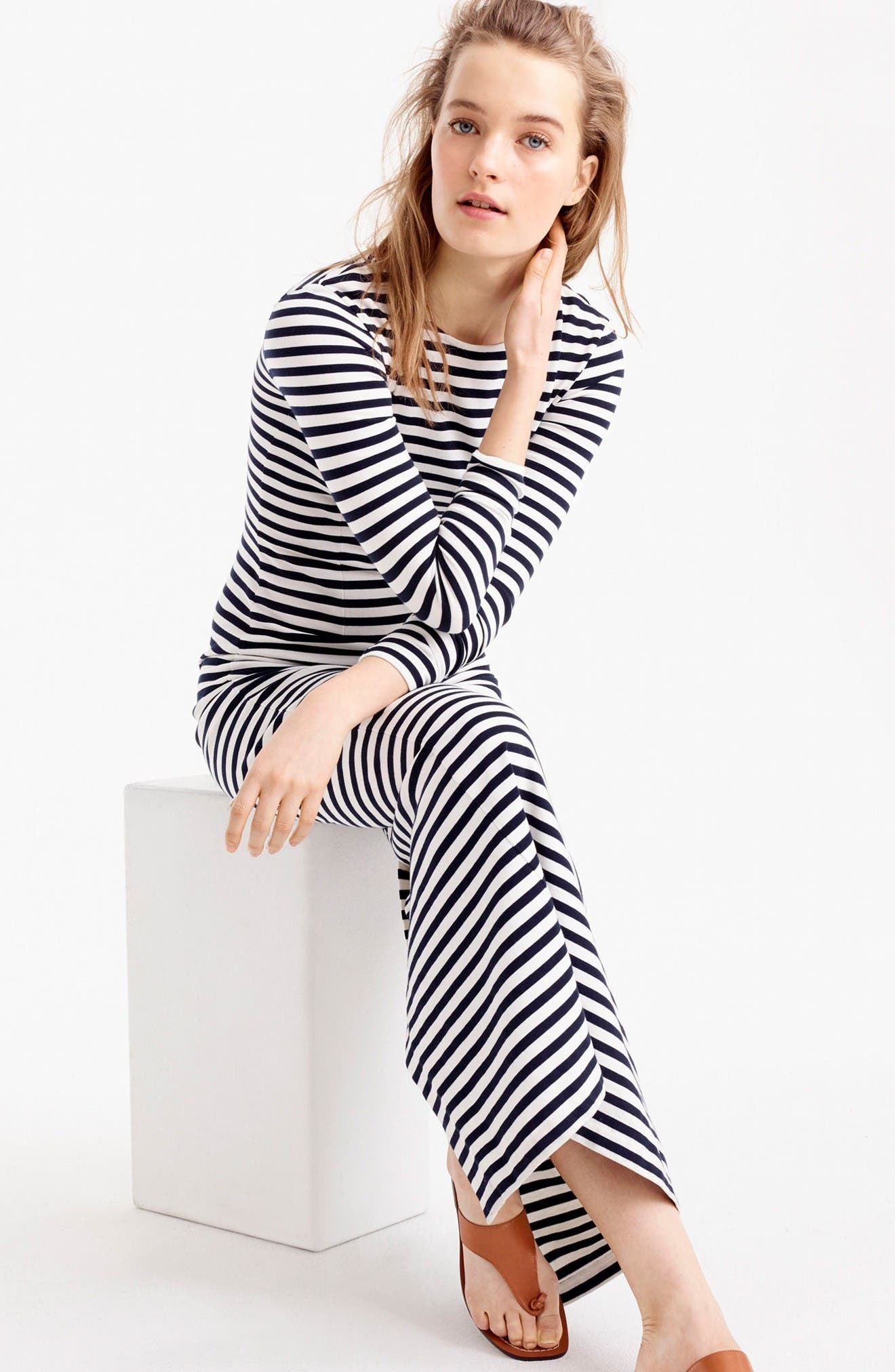 Alternate Image 2  - J.Crew Long Sleeve Stripe Maxi Dress