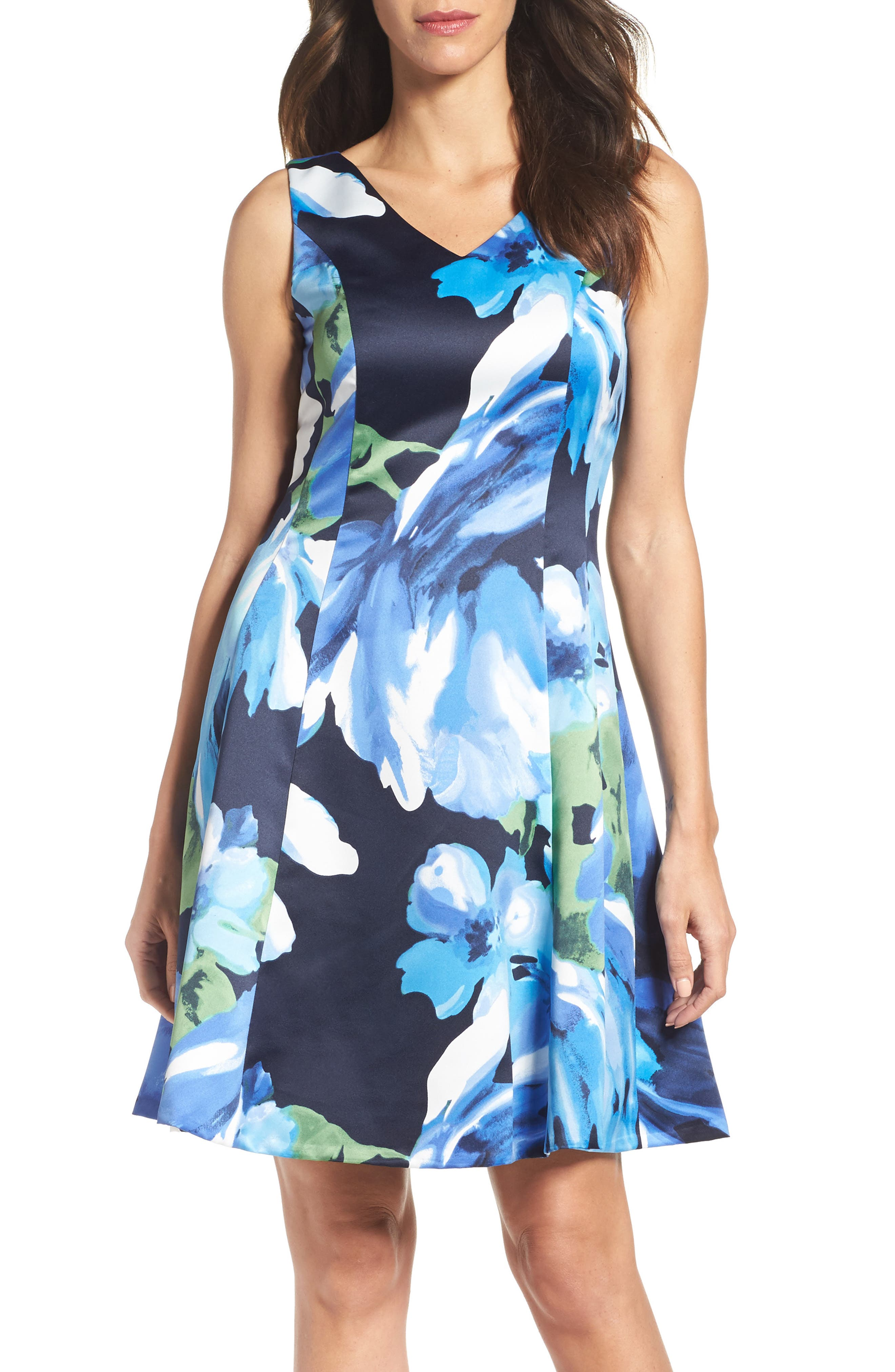 Ellen Tracy Floral Fit & Flare Dress