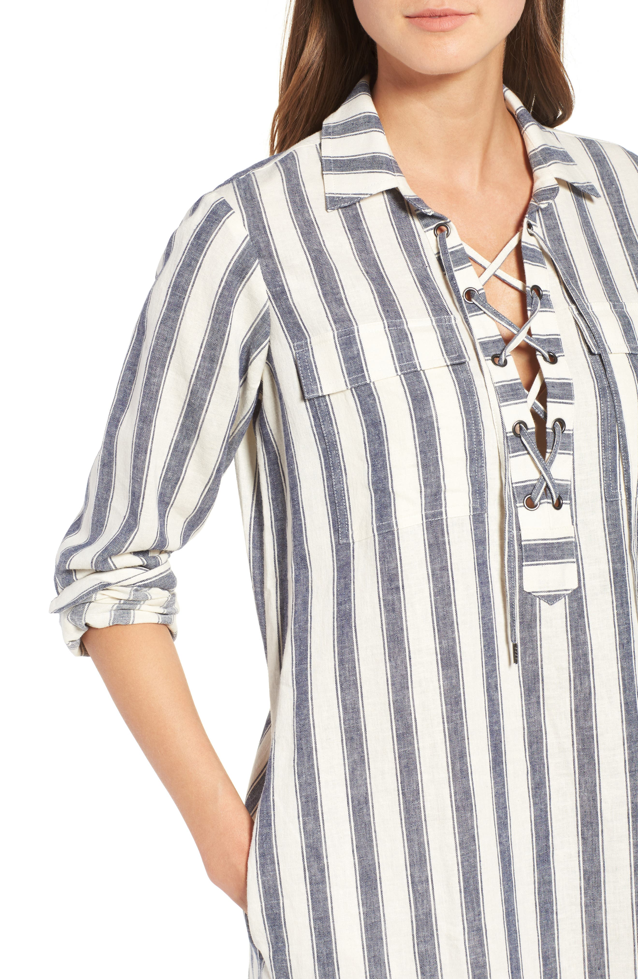Alternate Image 4  - Madewell Stripe Linen & Cotton Shirtdress