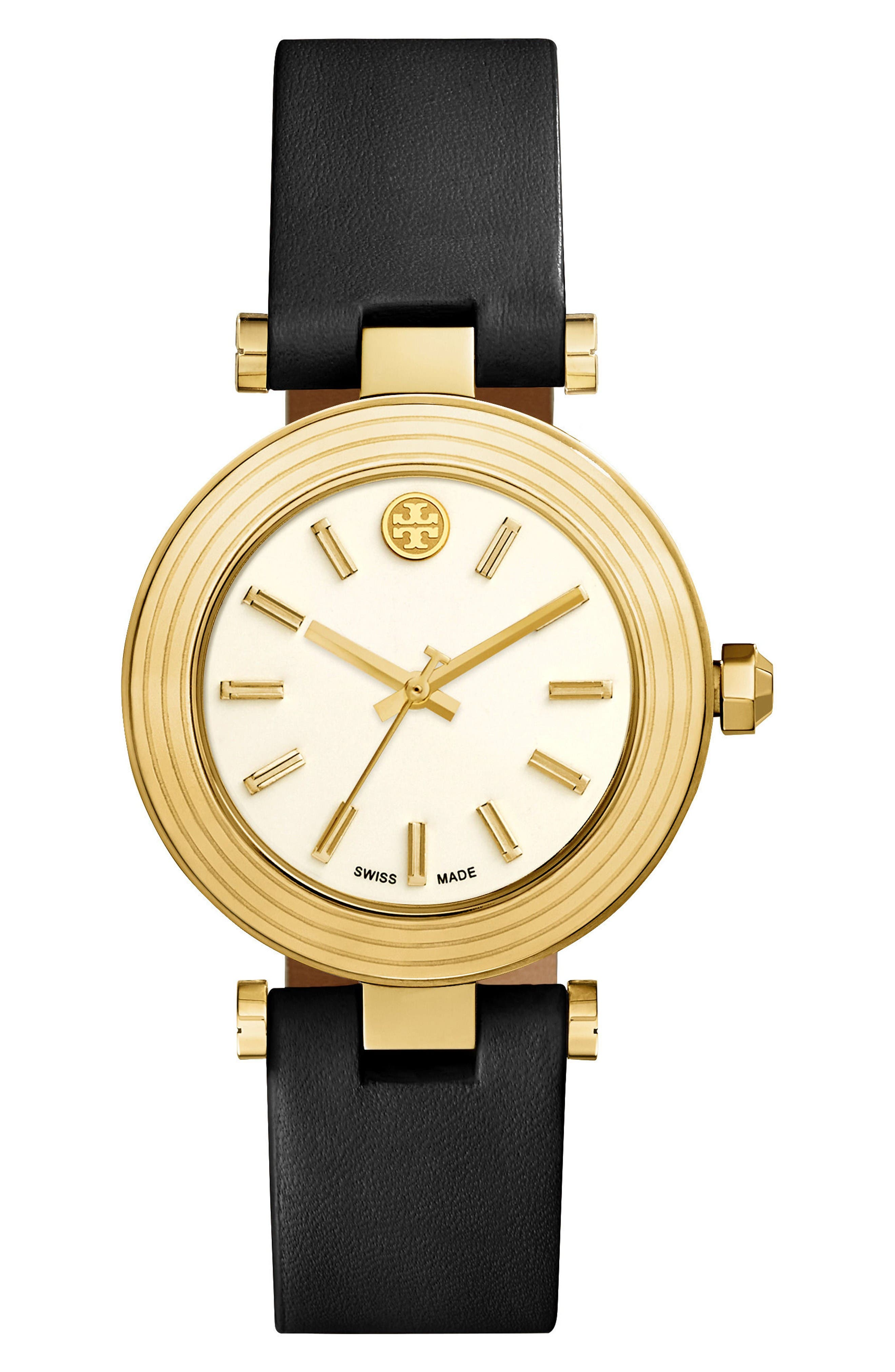 Alternate Image 1 Selected - Tory Burch Classic-T Leather Strap Watch, 36mm