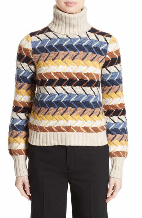 Chloé Herringbone Wool   Cashmere Turtleneck Sweater