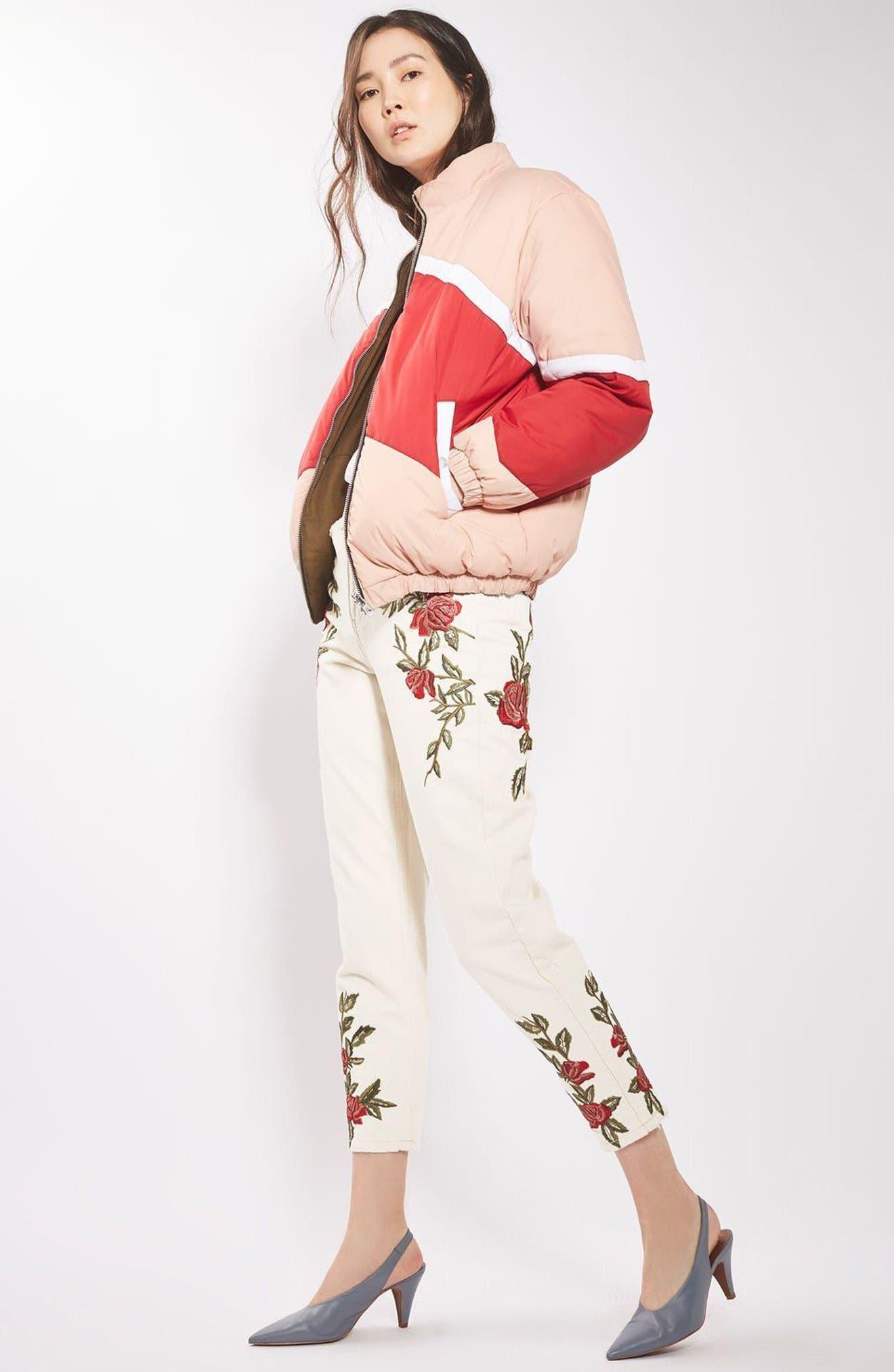 Alternate Image 2  - Topshop Rose Embroidered Mom Jeans