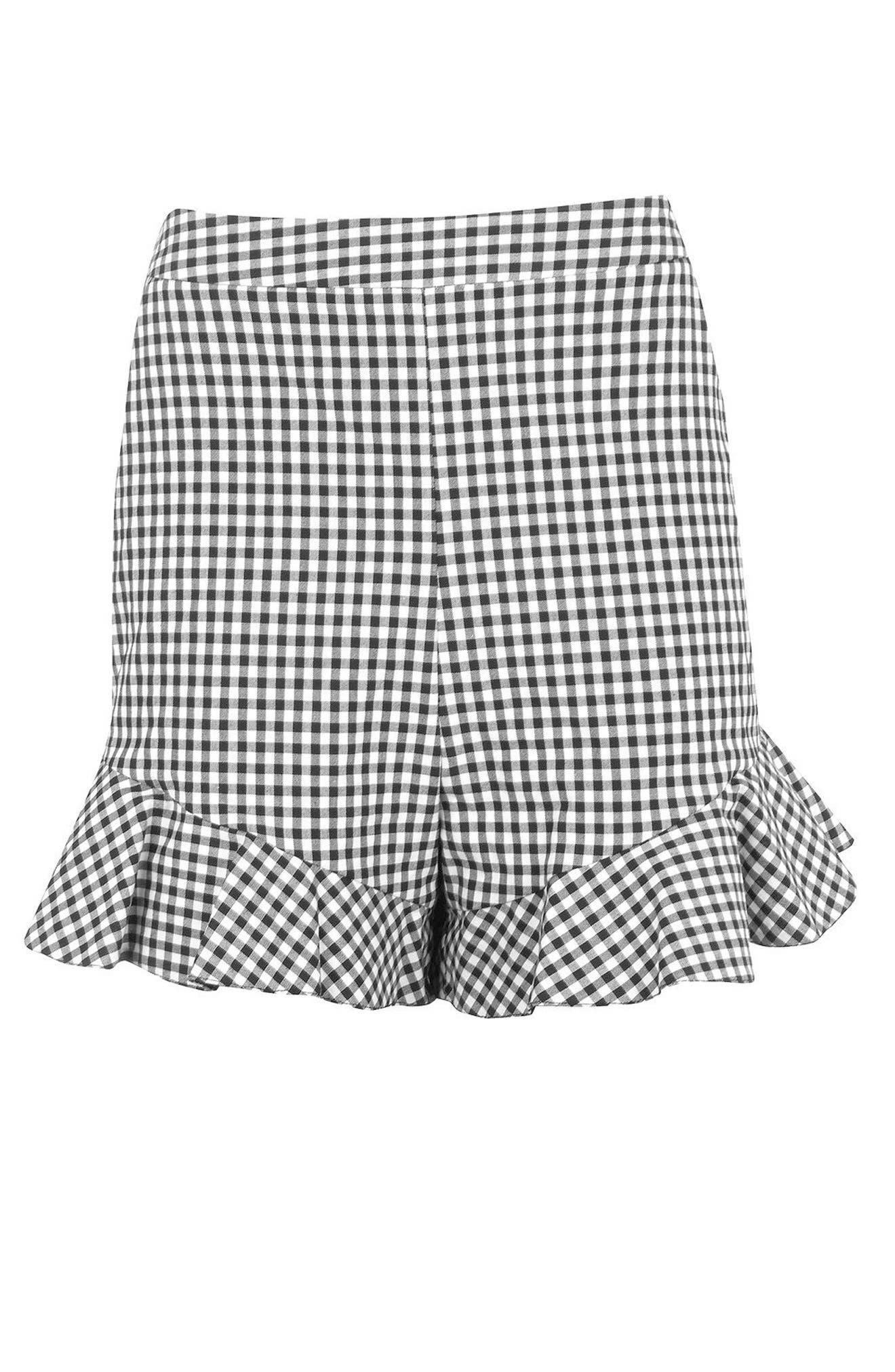 Alternate Image 5  - Topshop Gingham Frill Shorts