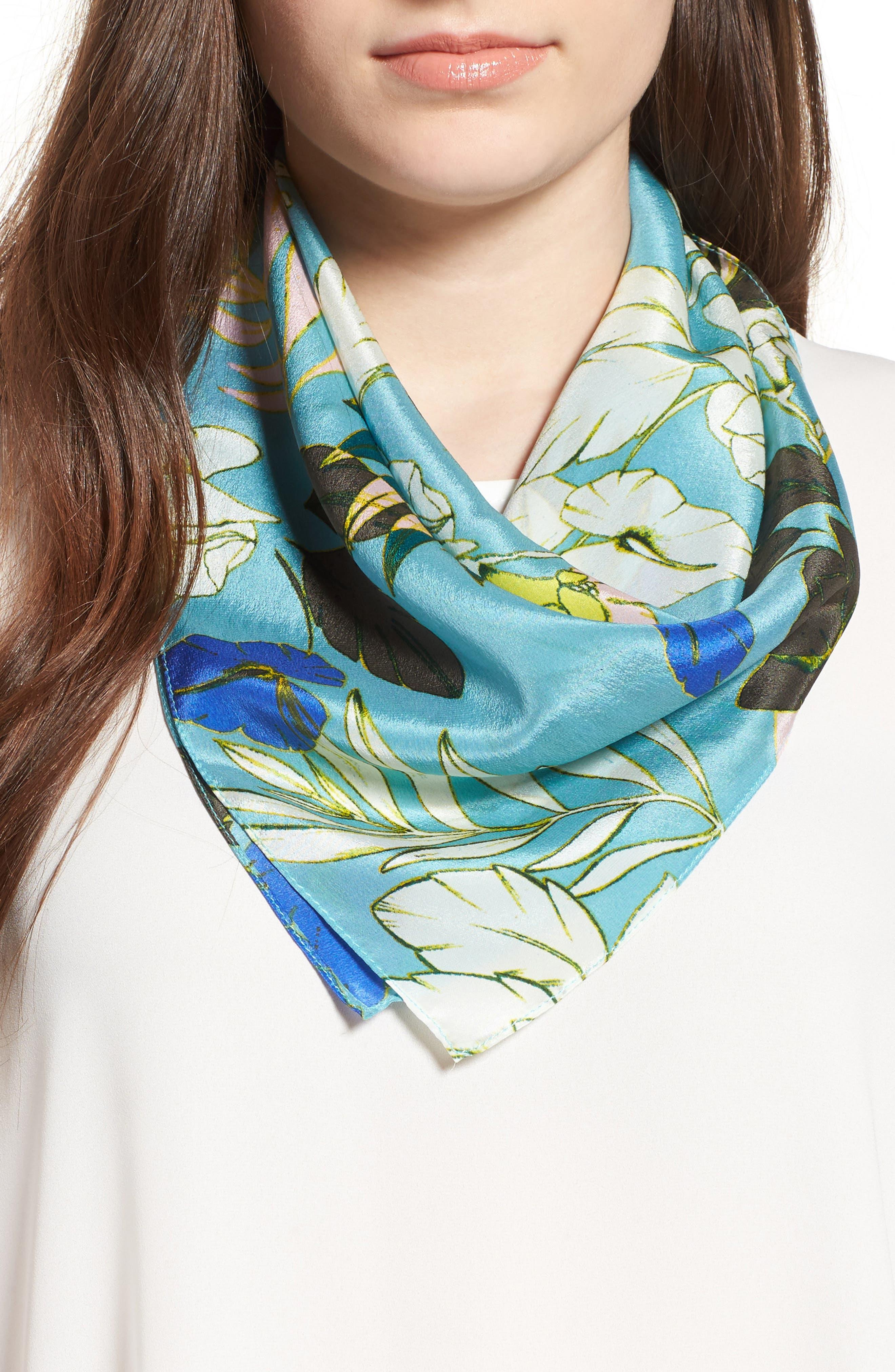 Main Image - Halogen® Paradise Floral Silk Square Scarf