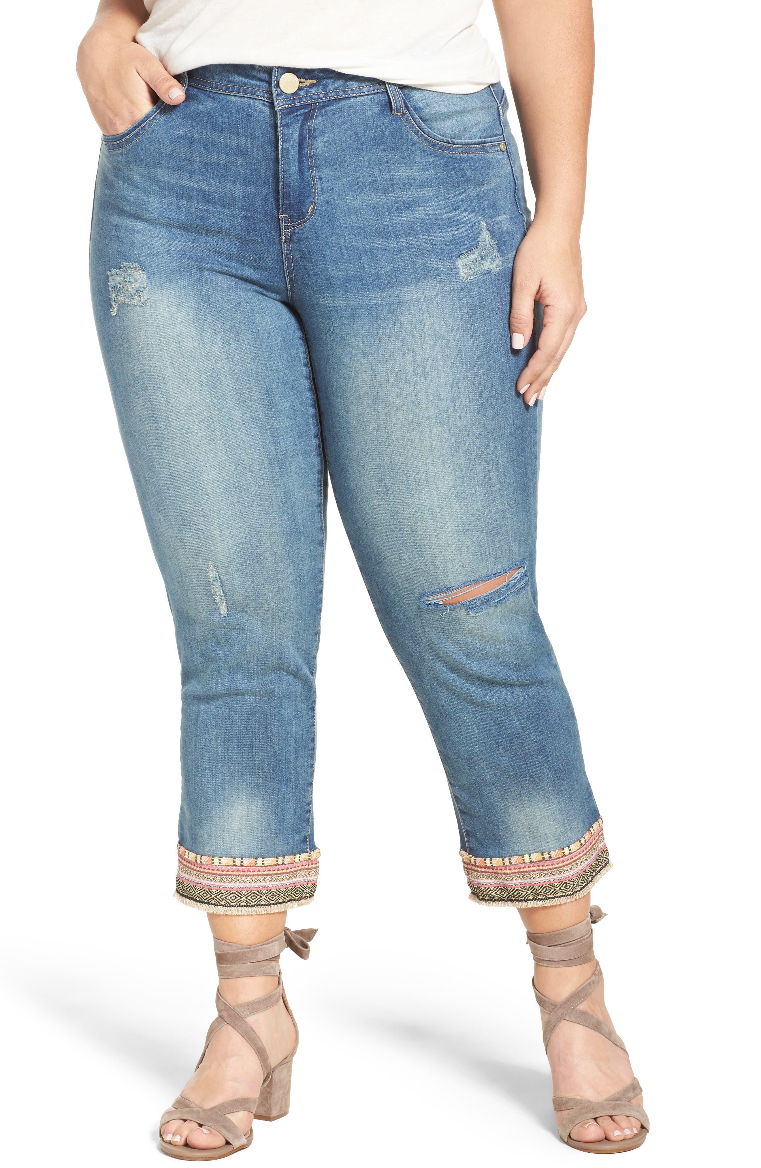 Democracy Embroidered Hem Crop Jeans (Plus Size)