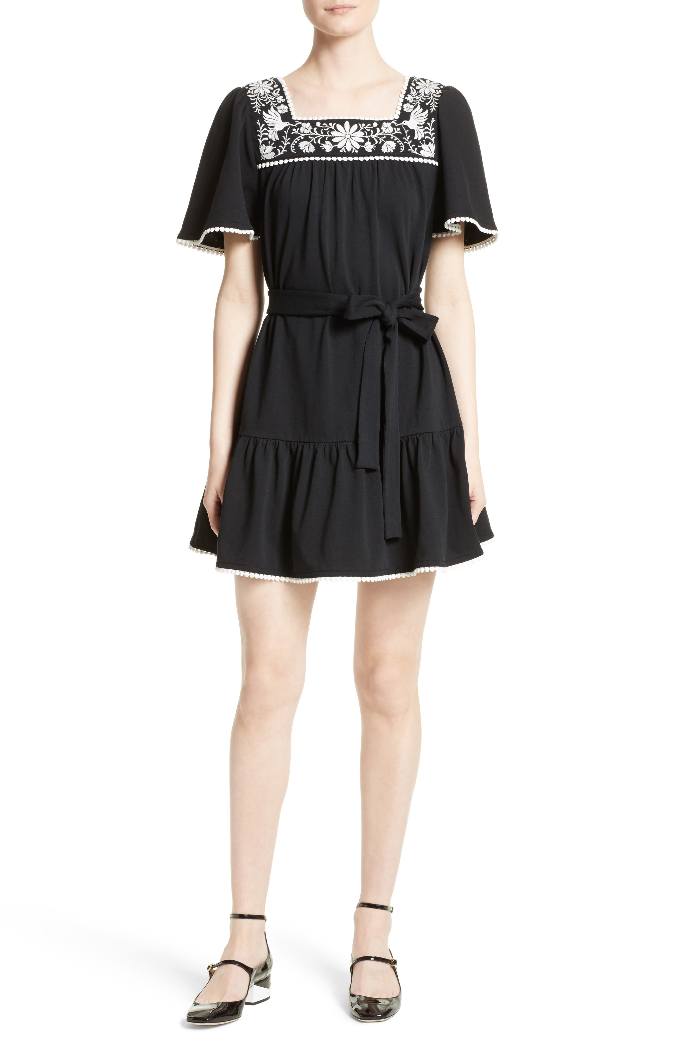 Alternate Image 1 Selected - kate spade embroidered a-line dress