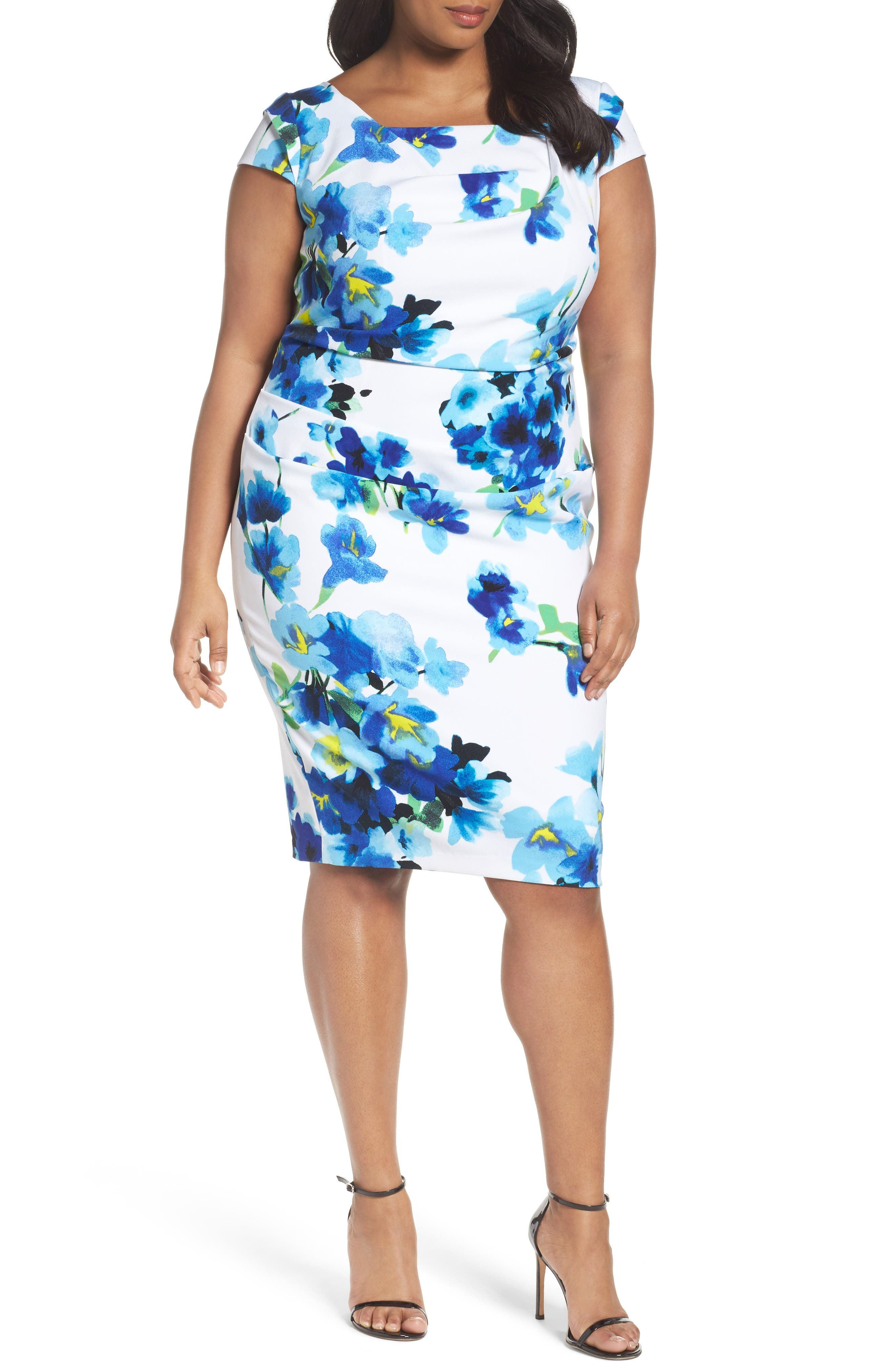 Adrianna Papell Drape Front Floral Sheath Dress (Plus Size)