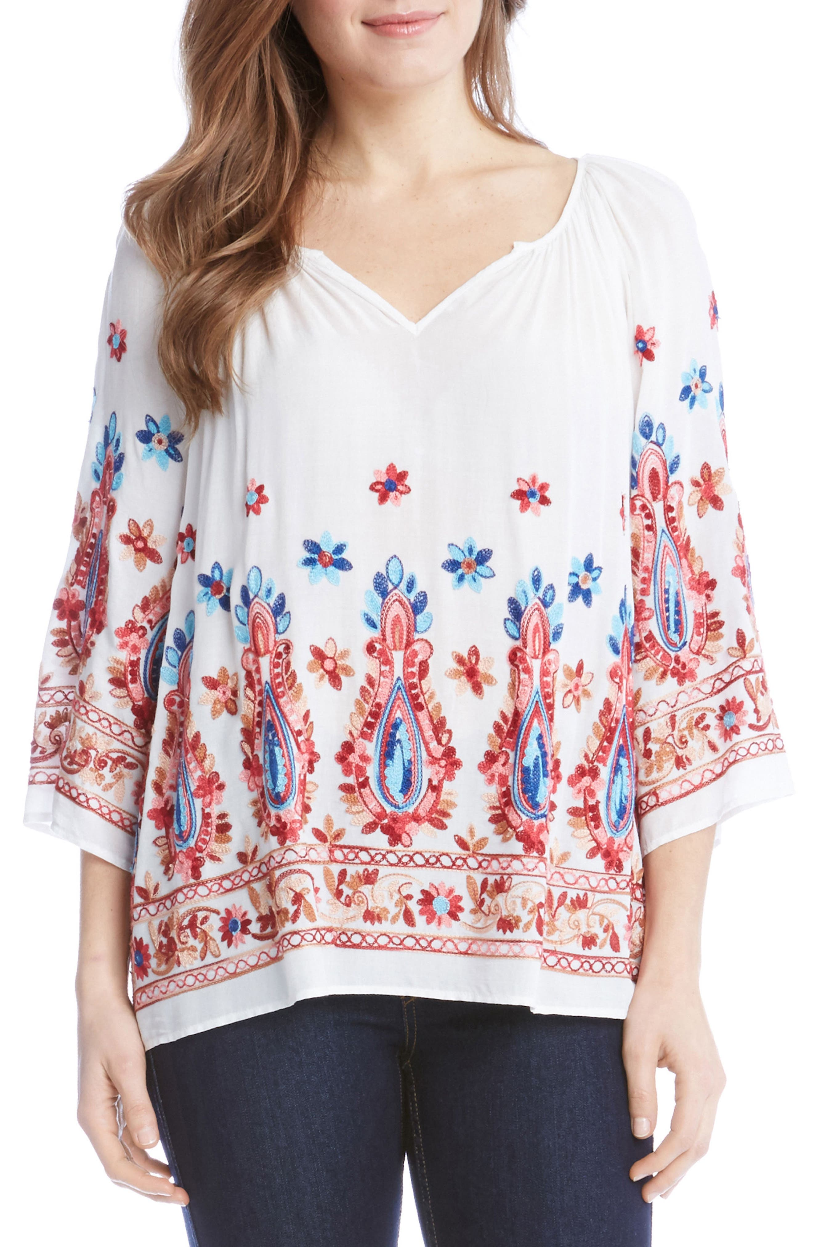 Karen Kane Embroidered Split Neck Blouse