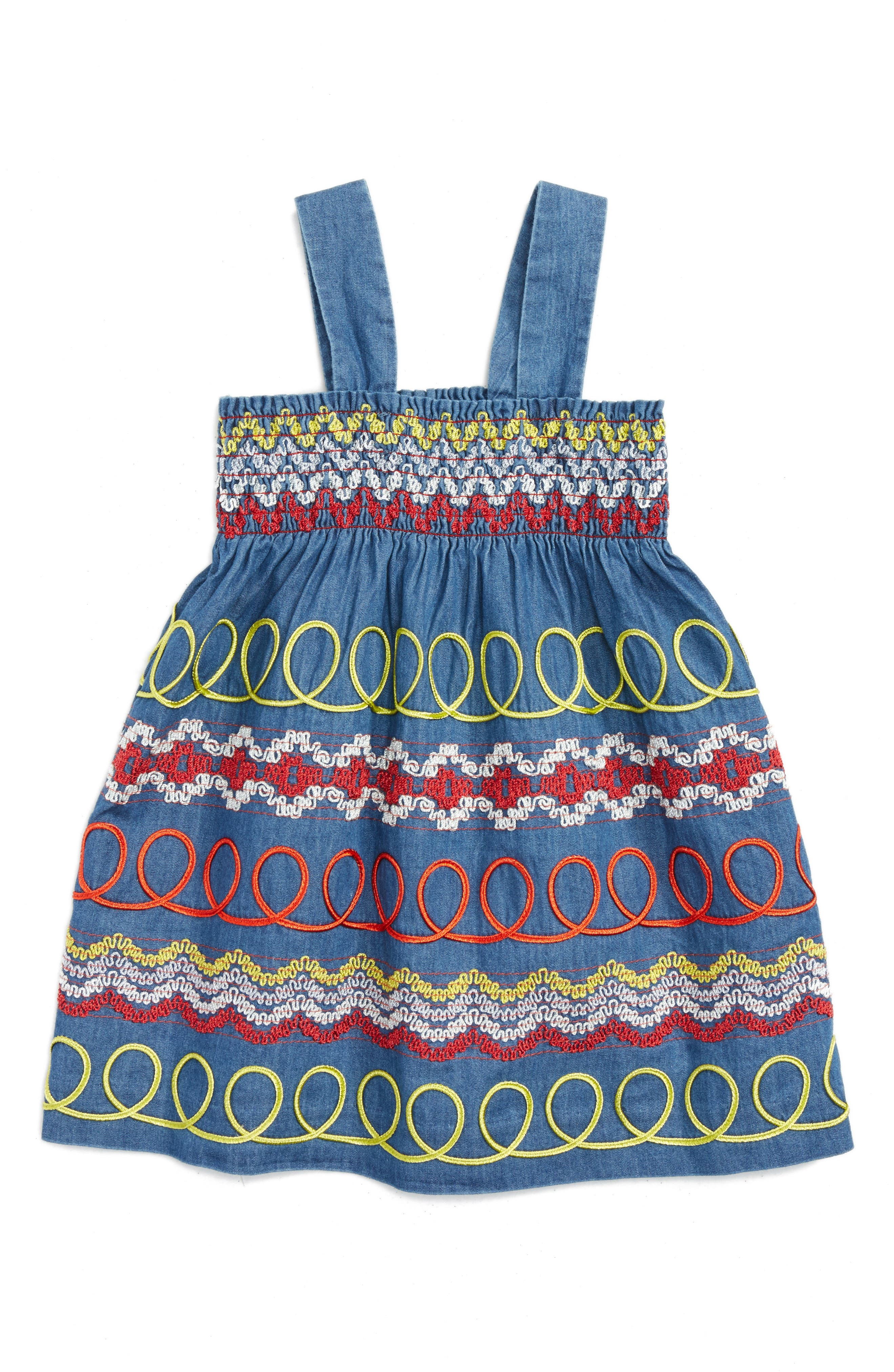 Stella McCartney Kids Magnolia Swirl Embroidered Smocked Dress (Toddler Girls, Little Girls & Big Girls)