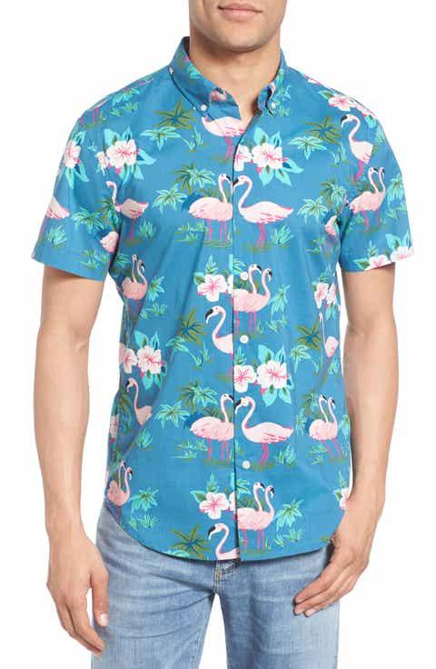 Bonobos Slim Fit Flamingo Print Short Sleeve Sport Shirt