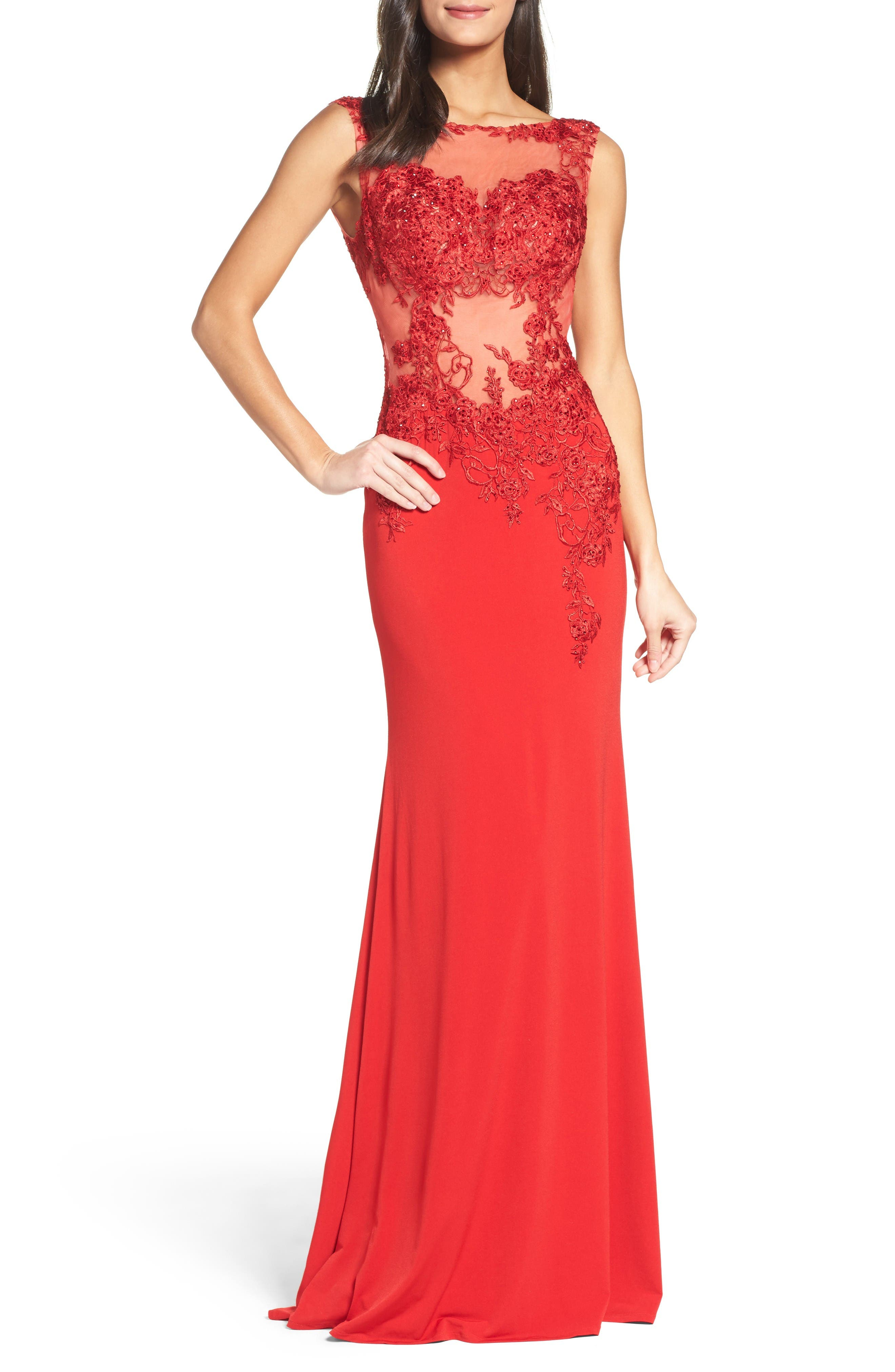 Alternate Image 1 Selected - JVN by Jovani Illusion Waist Gown