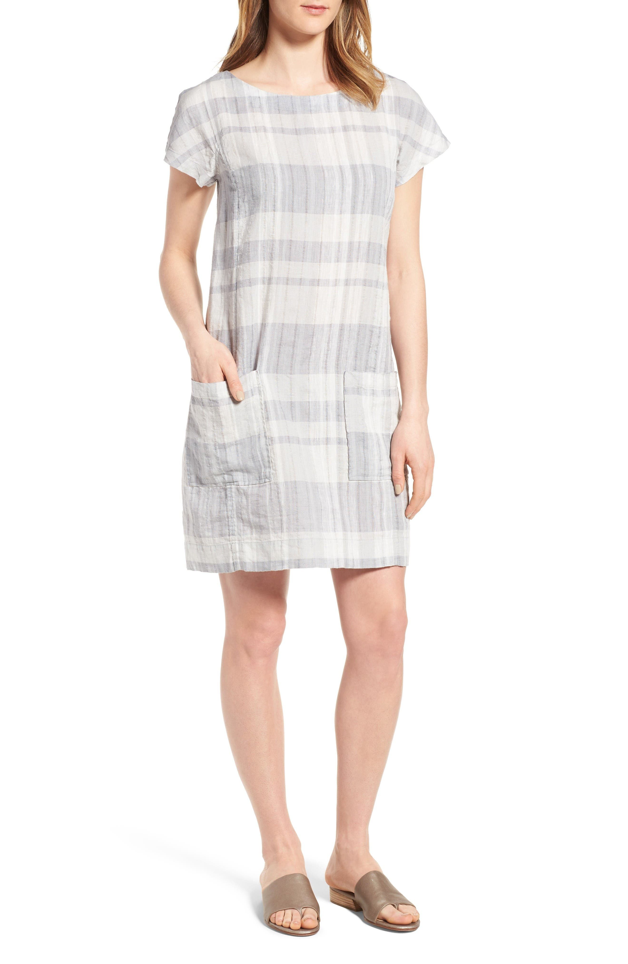 Eileen Fisher Plaid Organic Linen & Cotton Shift Dress (Regular & Petite)