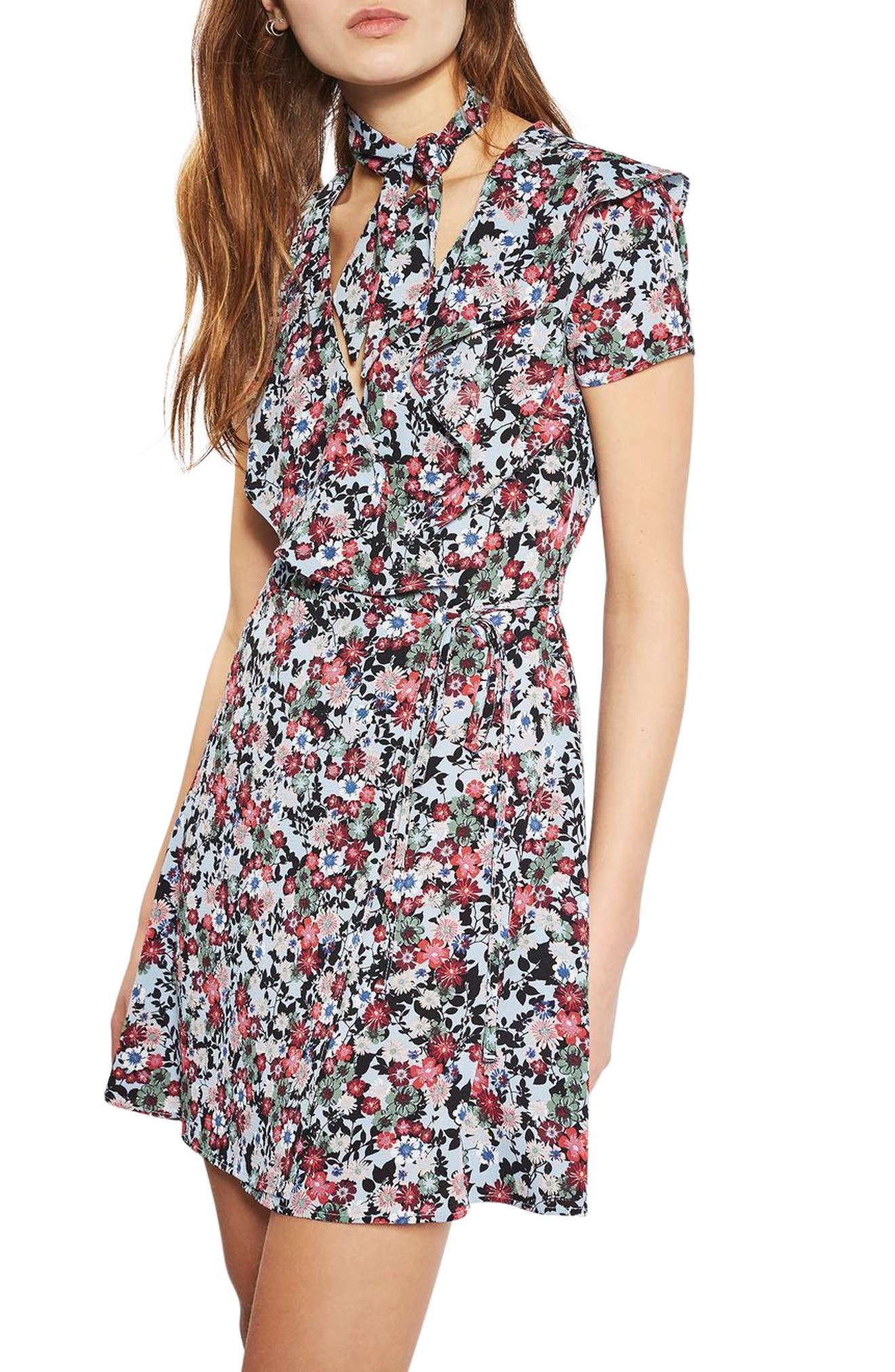 Alternate Image 1 Selected - Topshop Sky Floral Wrap Dress