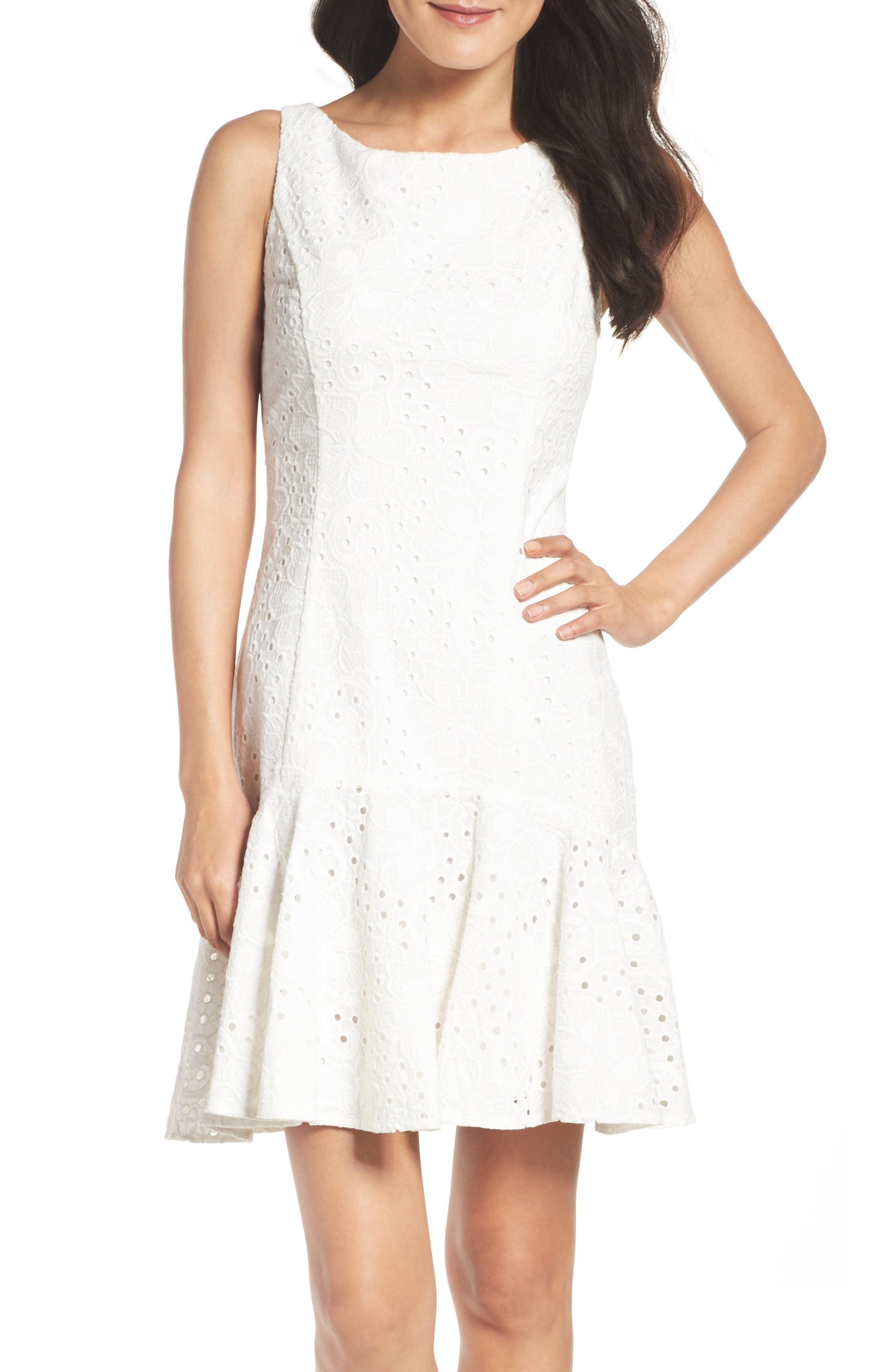 Eliza J Eyelet Fit & Flare Dress (Regular & Petite)