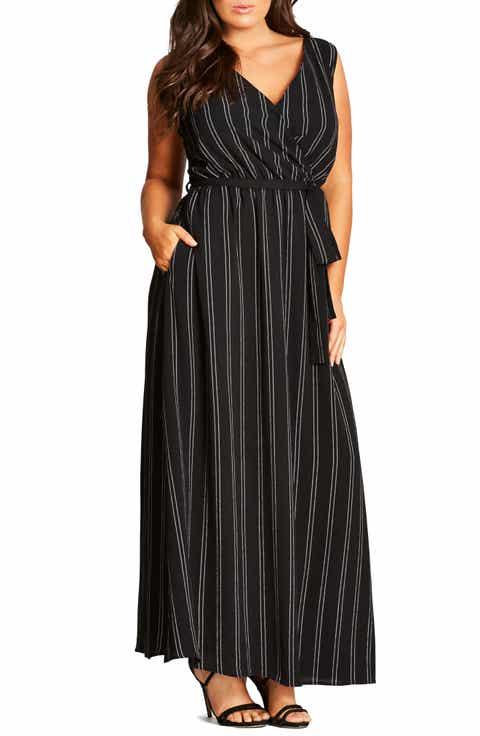 City Chic Pin Stripe Maxi Dress (Plus Size)