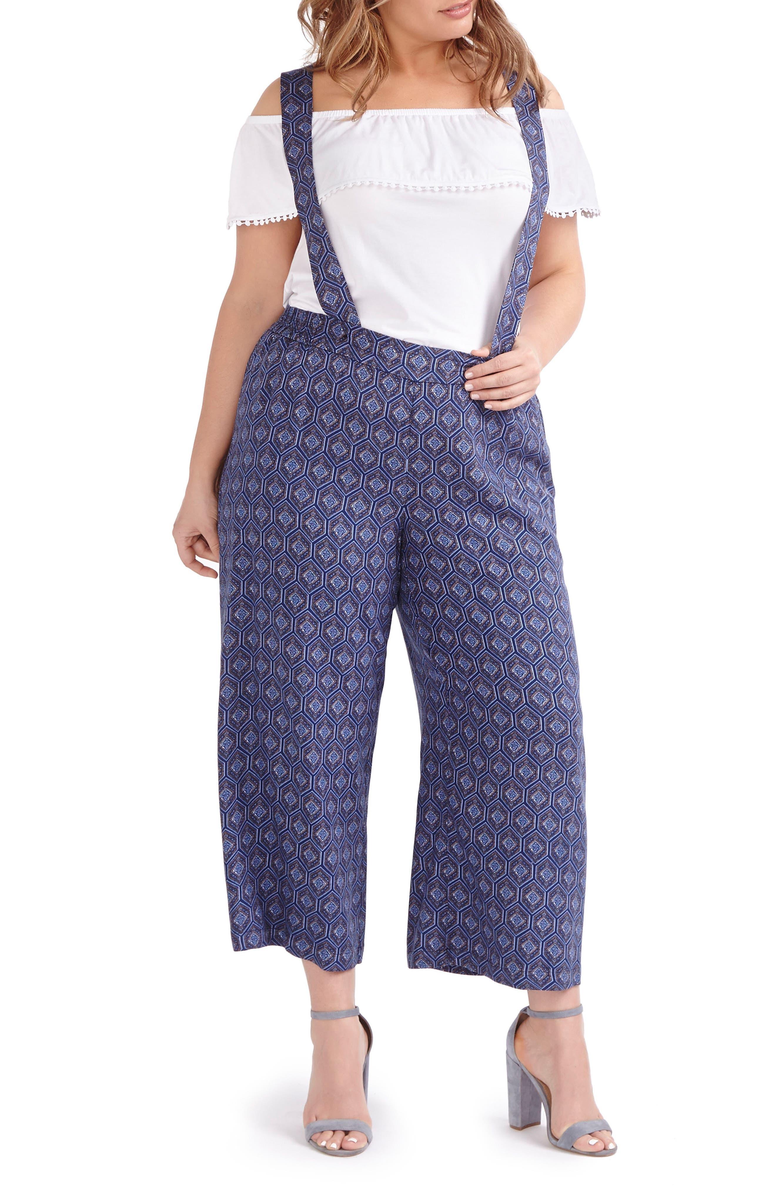 ADDITION ELLE LOVE AND LEGEND Print Wide Leg Suspender Pants (Plus Size)