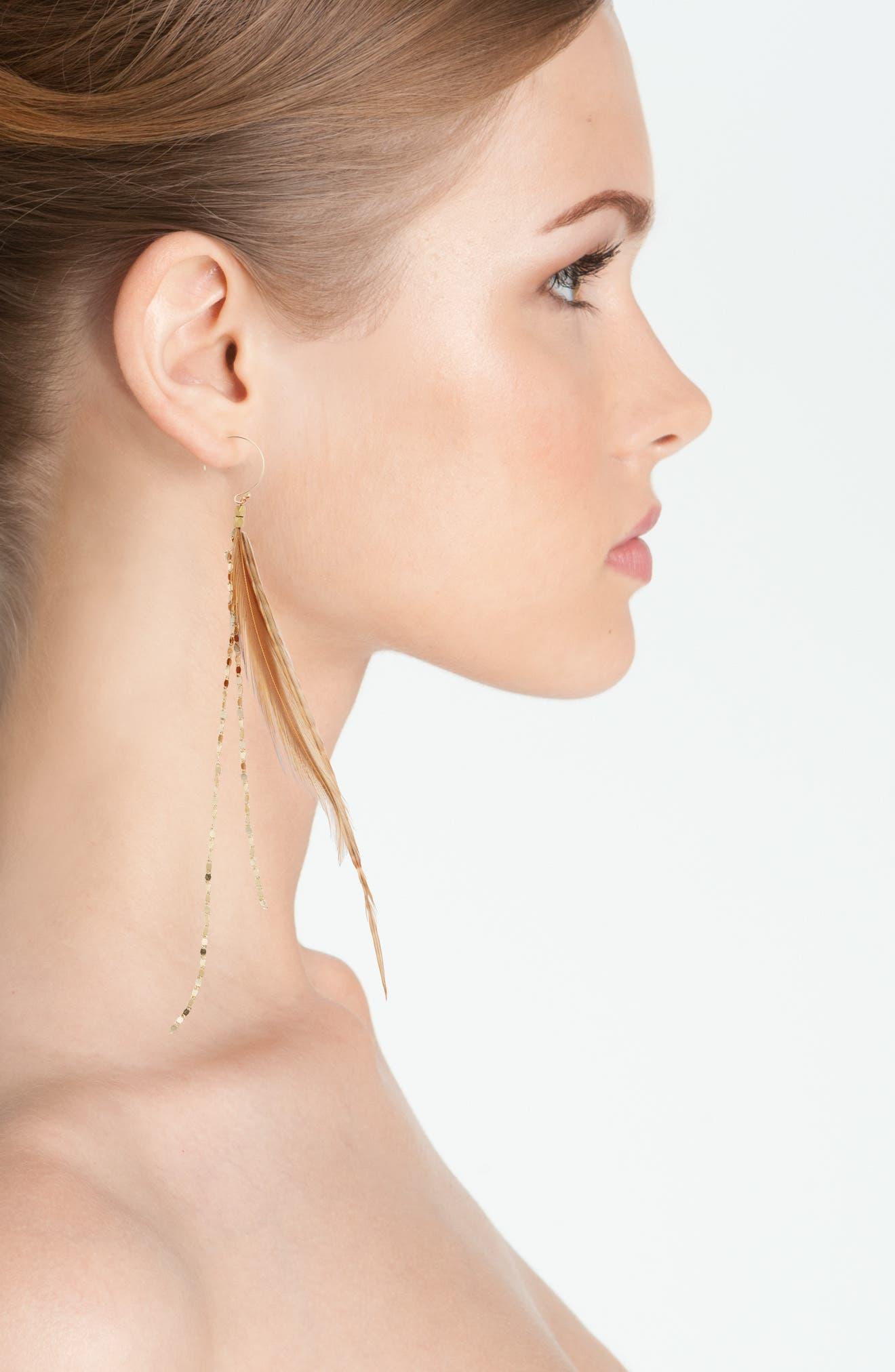 Alternate Image 2  - Serefina Glistening Feather Drop Earrings