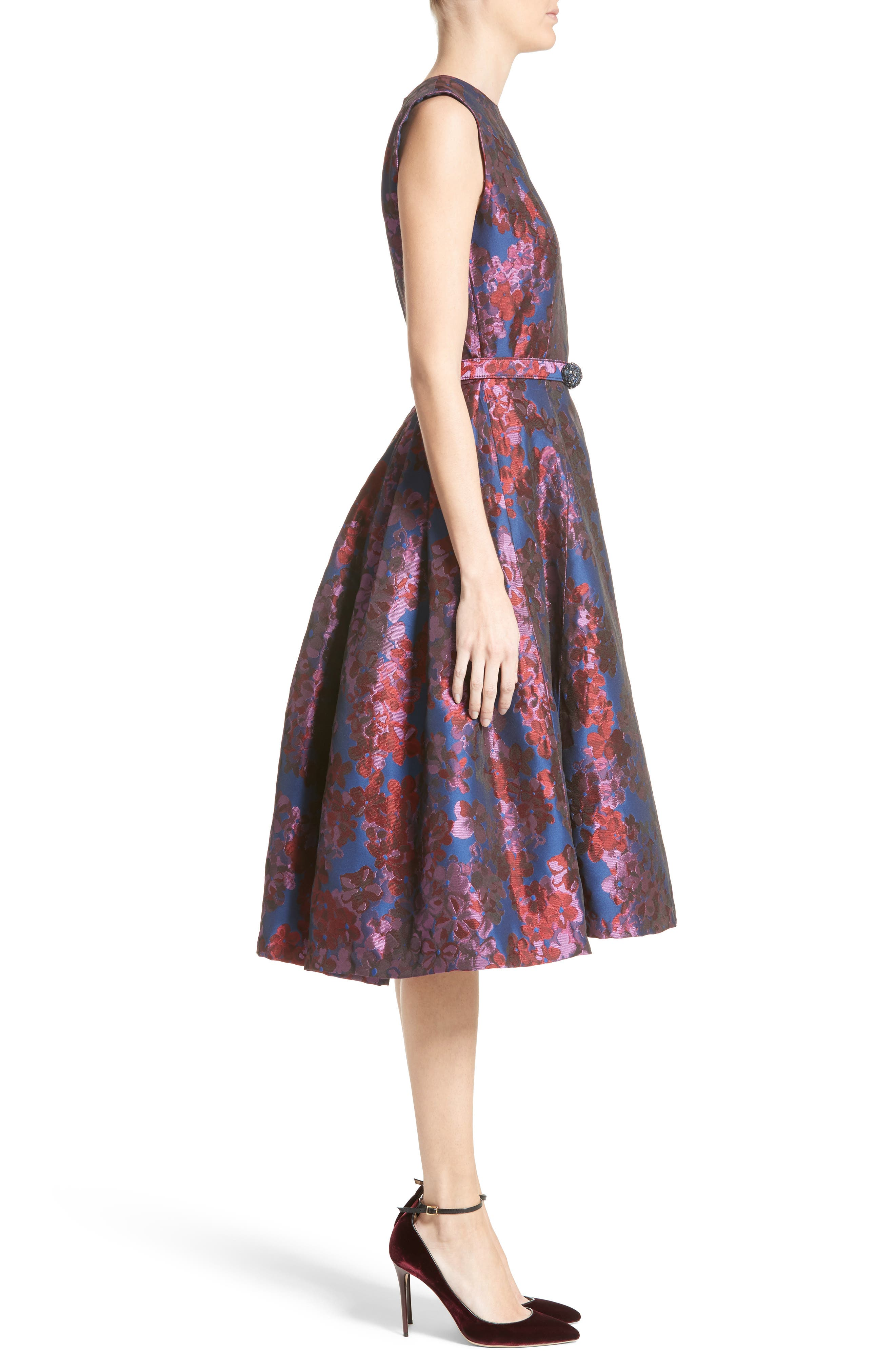 Alternate Image 4  - Badgley Mischka Couture Floral Jacquard Fit & Flare Dress (Nordstrom Exclusive)
