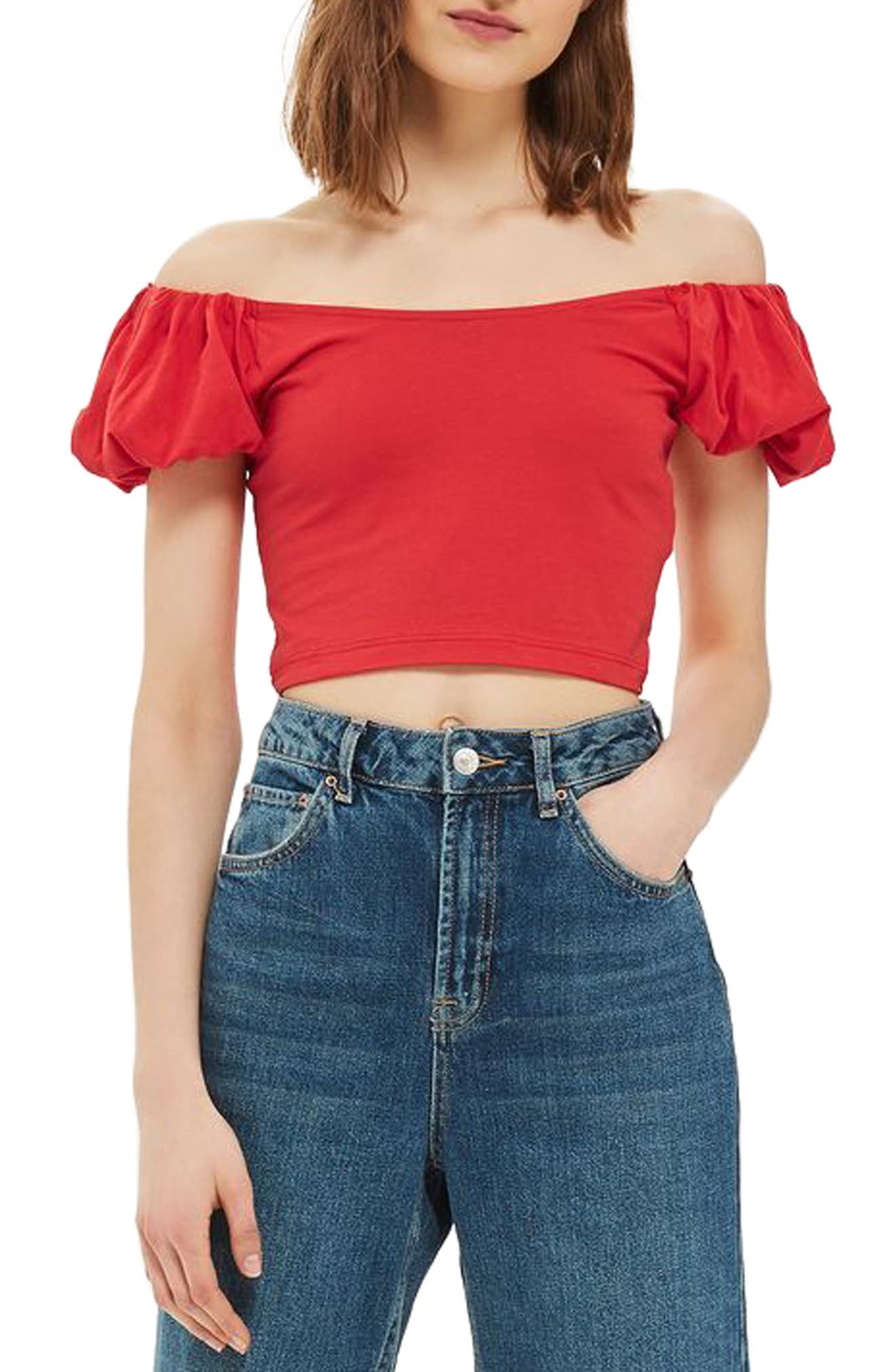 Topshop Bubble Off the Shoulder Crop Top