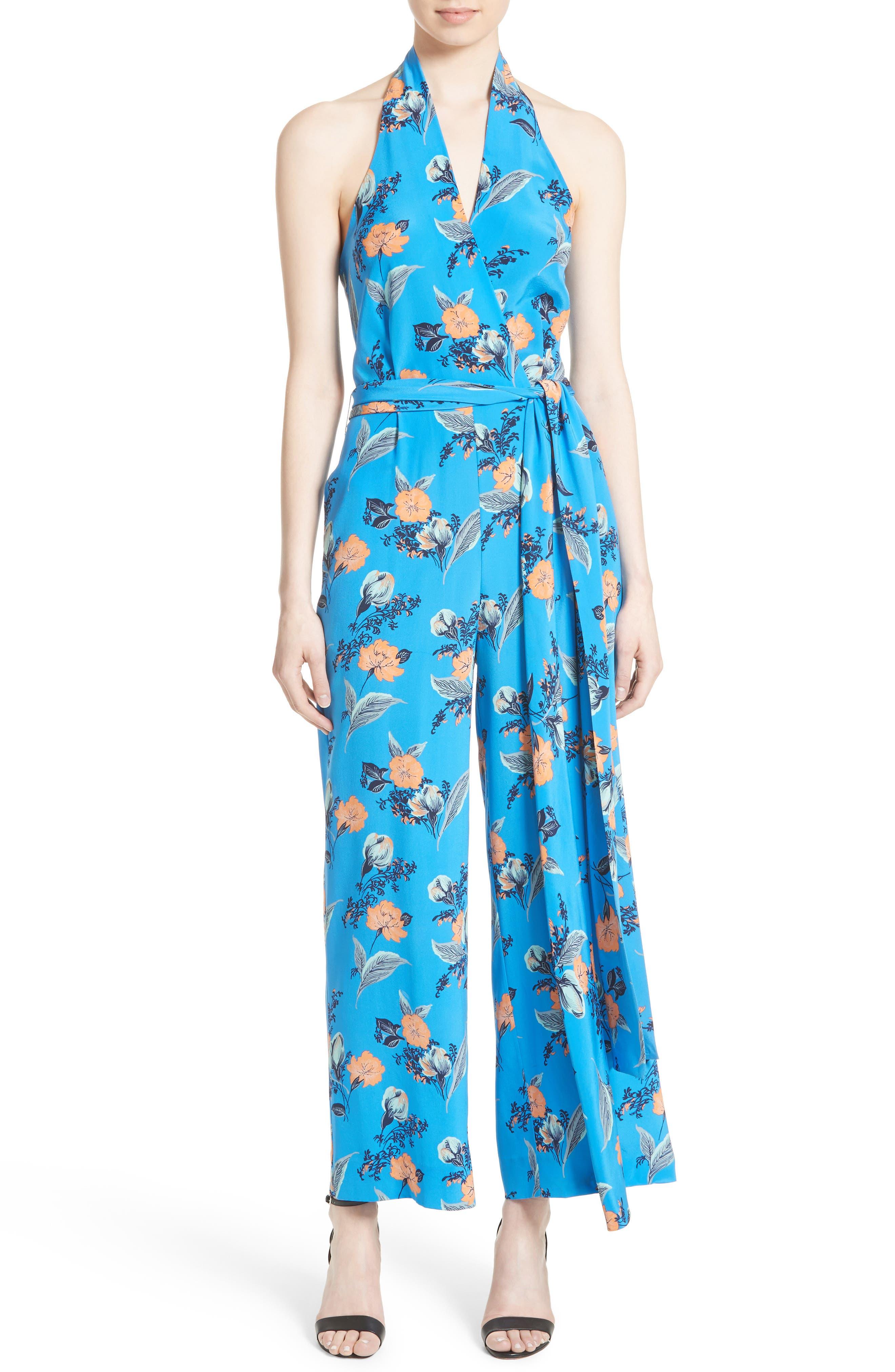 Alternate Image 1 Selected - Diane von Furstenberg Halter Floral Suit Jumpsuit