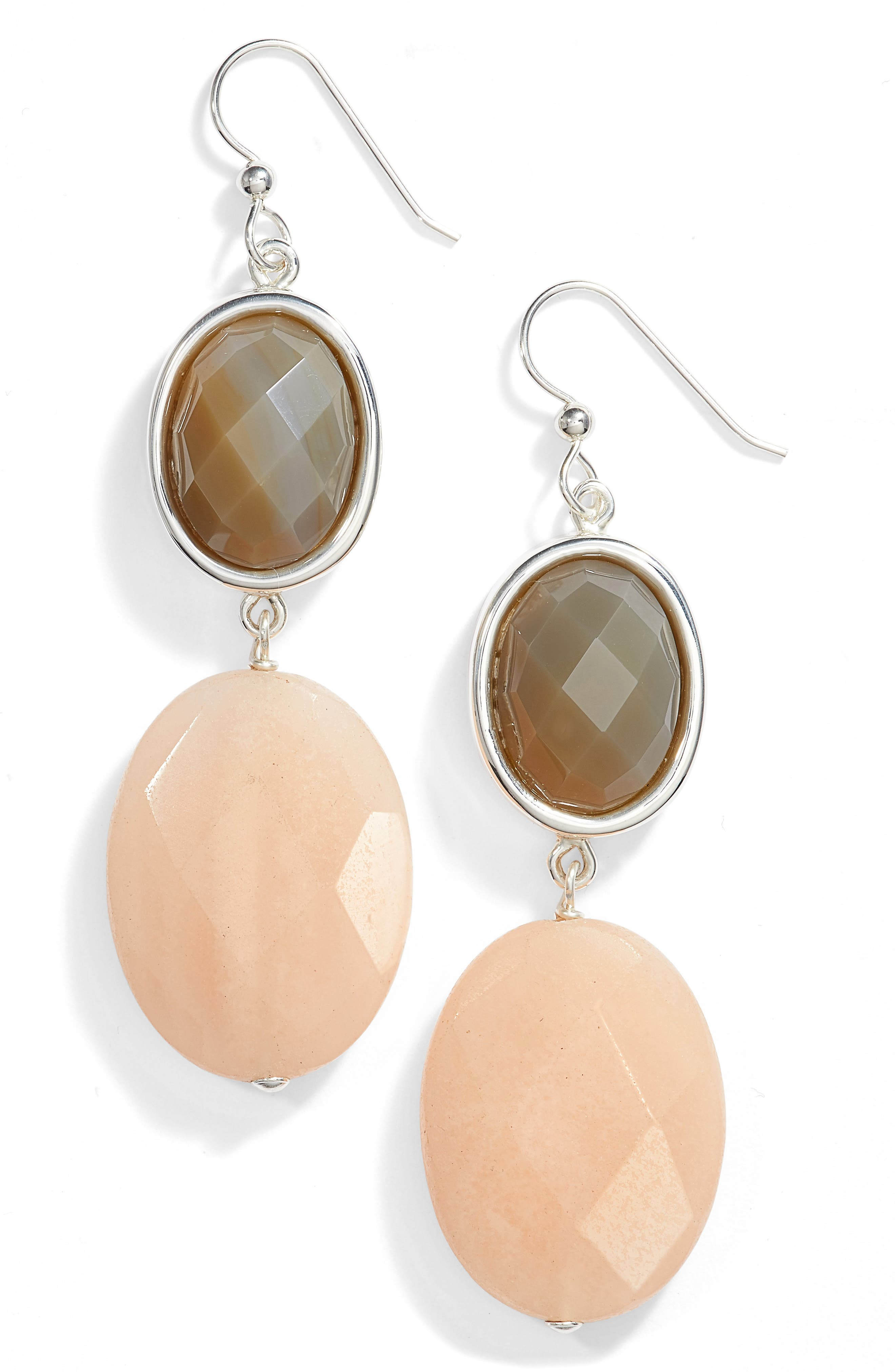 Simon Sebbag Semiprecious Stone Double Drop Earrings