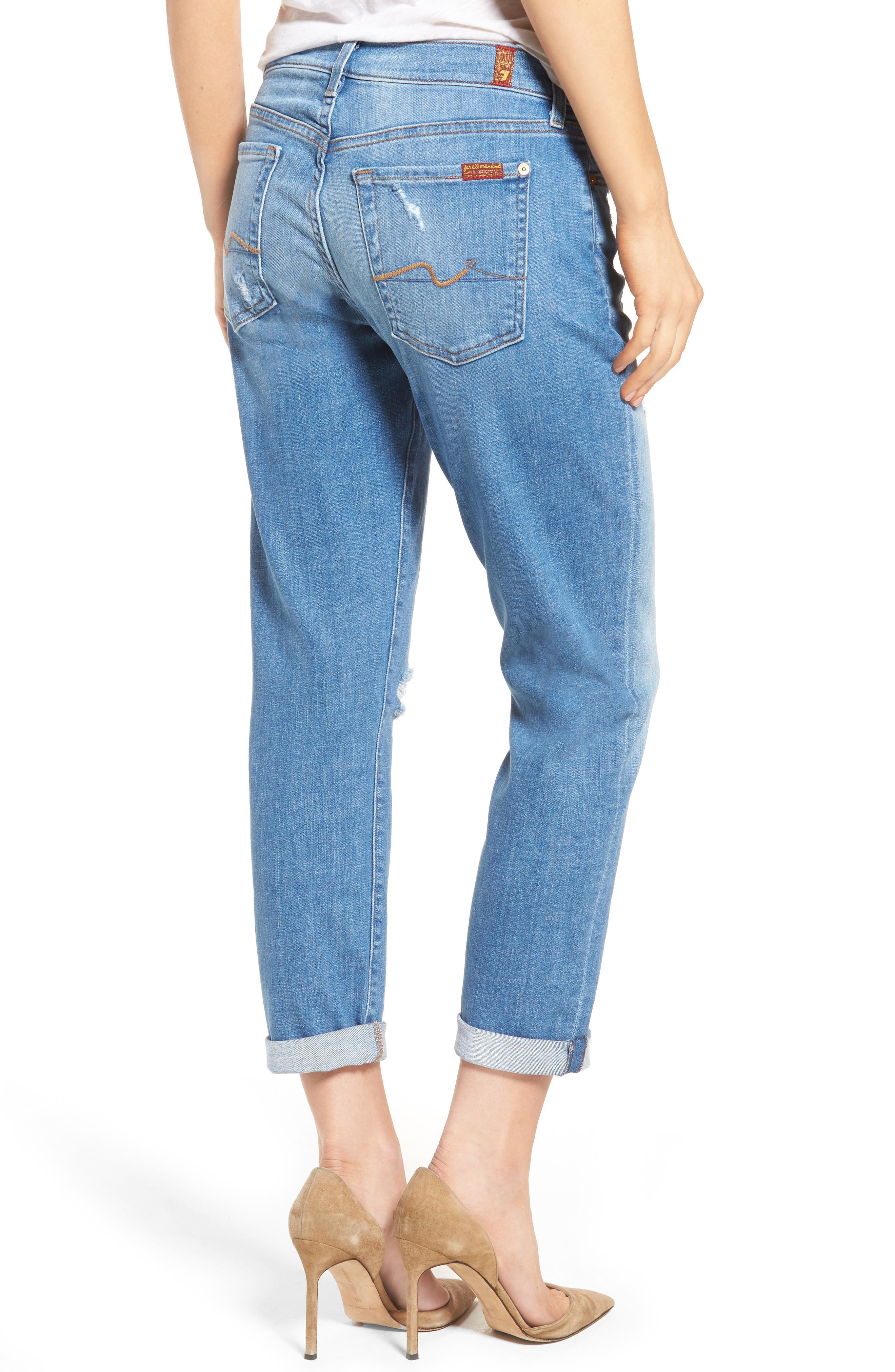 Alternate Image 2  - 7 For All Mankind® 'Josefina' Mid Rise Boyfriend Jeans (Adelaide Bright Blue 2)