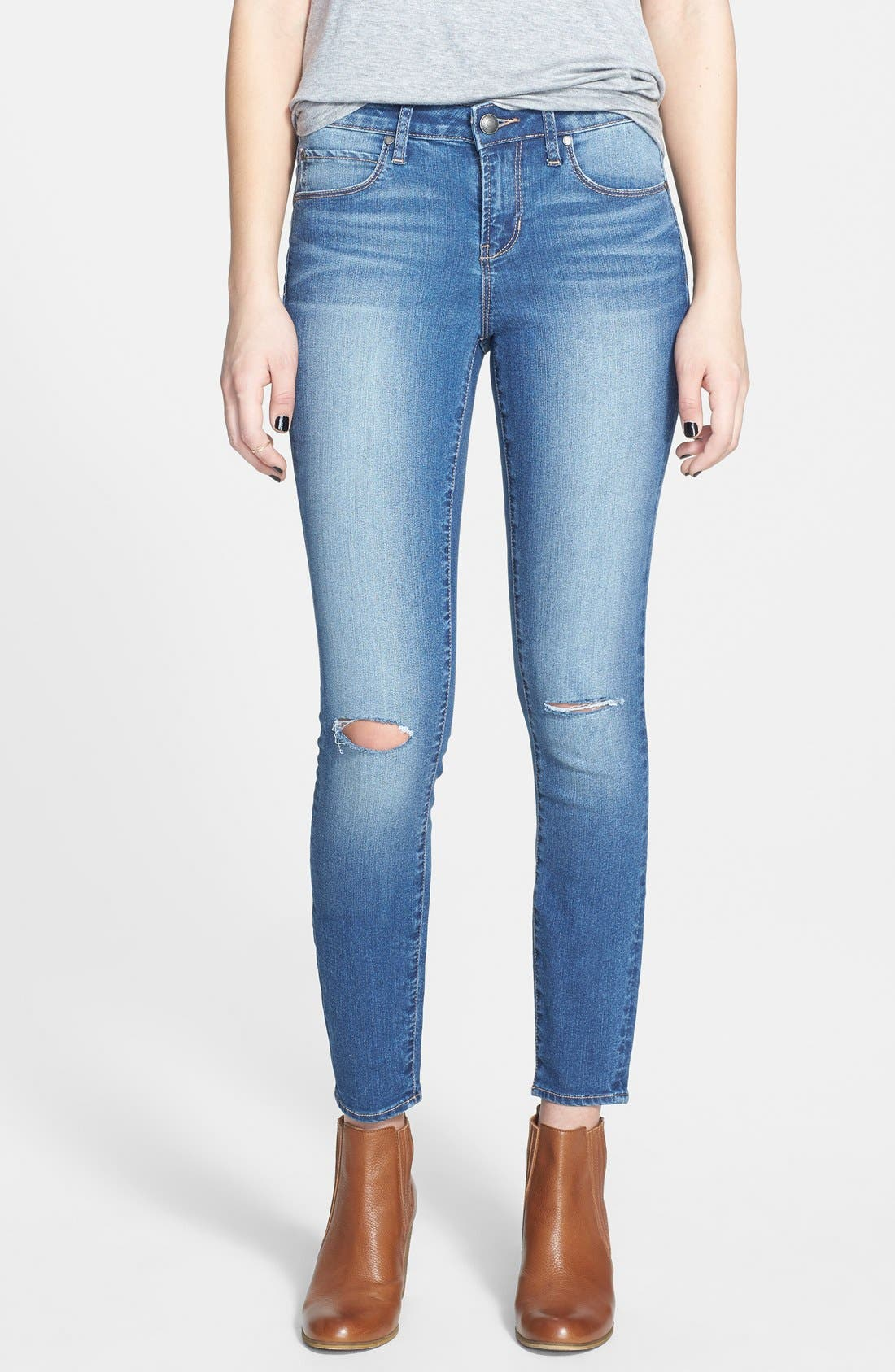 Alternate Image 1 Selected - Articles of Society Destroyed Skinny Jeans (Medium)