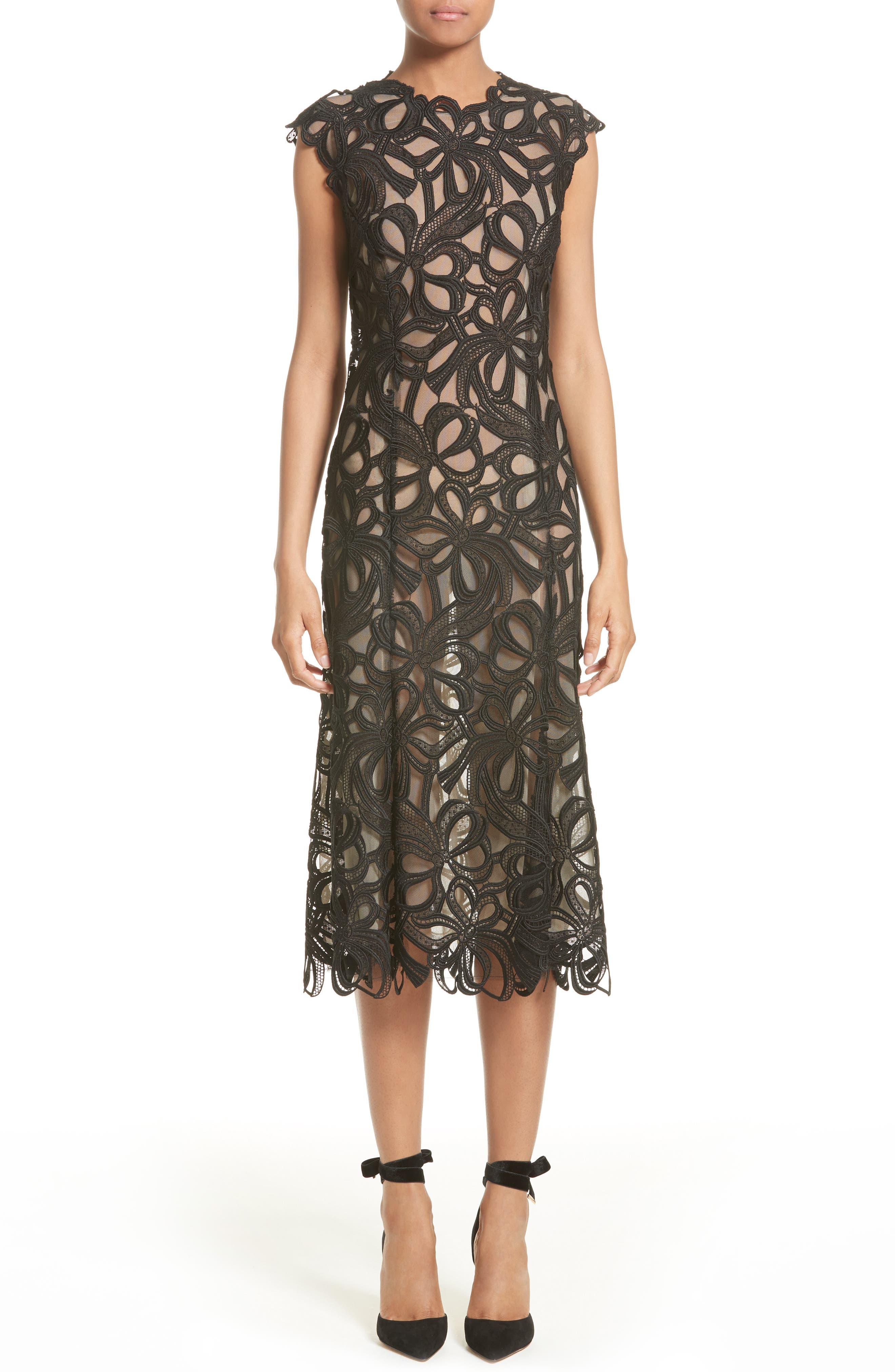 Monique Lhuillier Ribbon Guipure Lace Midi Dress