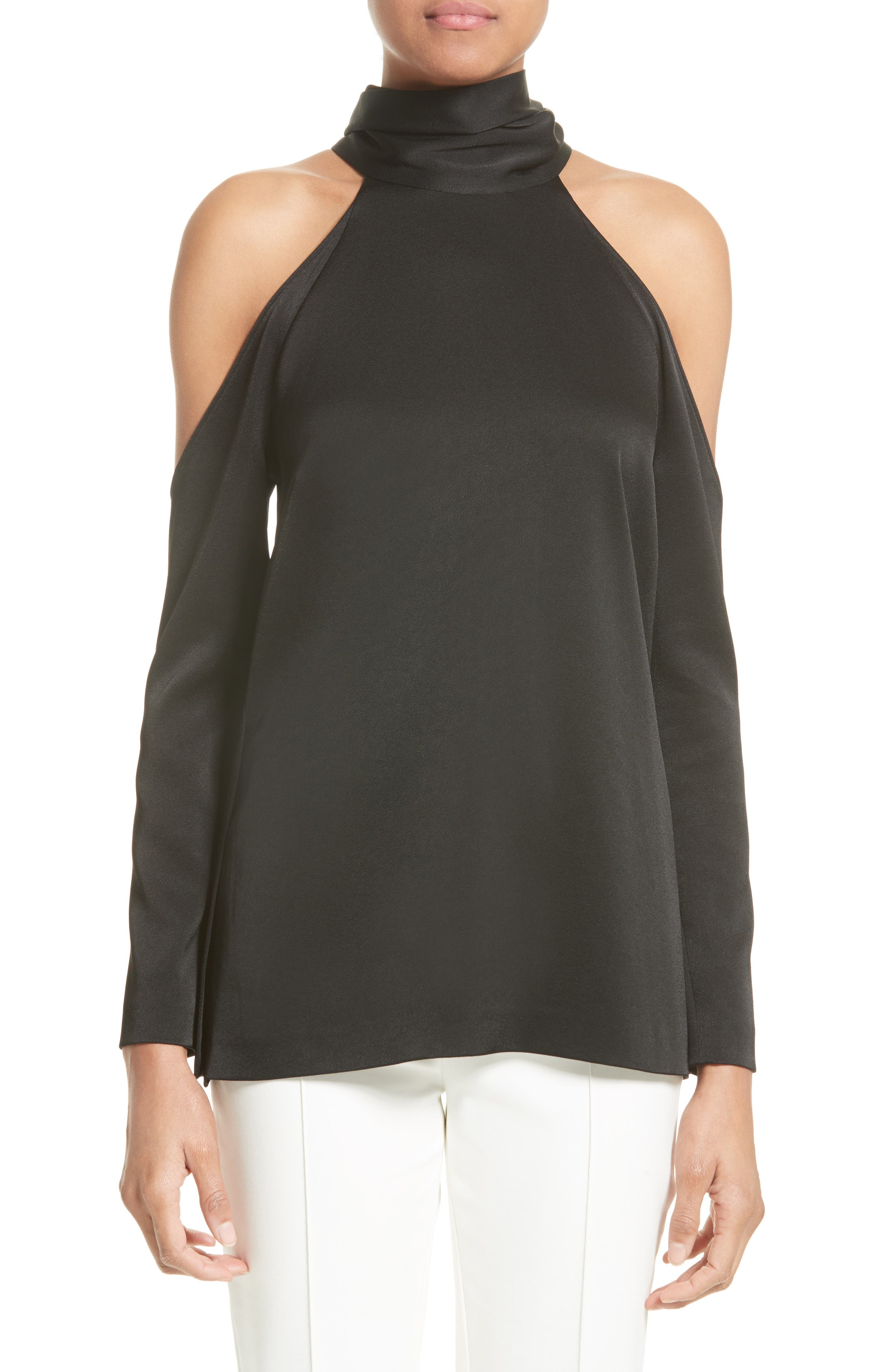Galvan Satin Back Crepe Cold Shoulder Top
