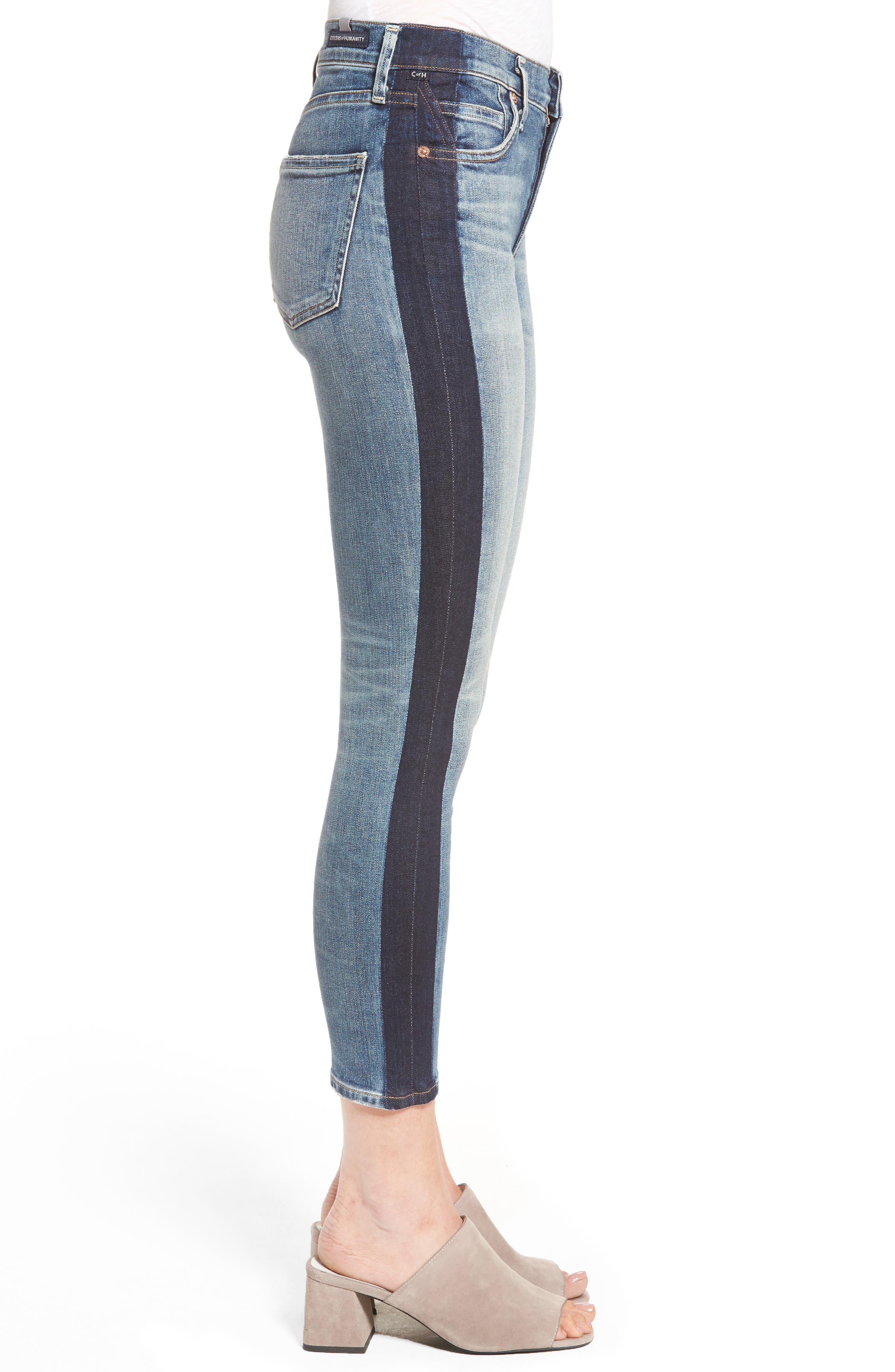 Alternate Image 3  - Citizens of Humanity Rocket High Waist Crop Skinny Jeans (Shadow Stripe)