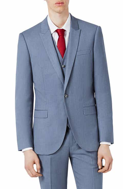 Topman Skinny Fit Crosshatch Suit Jacket