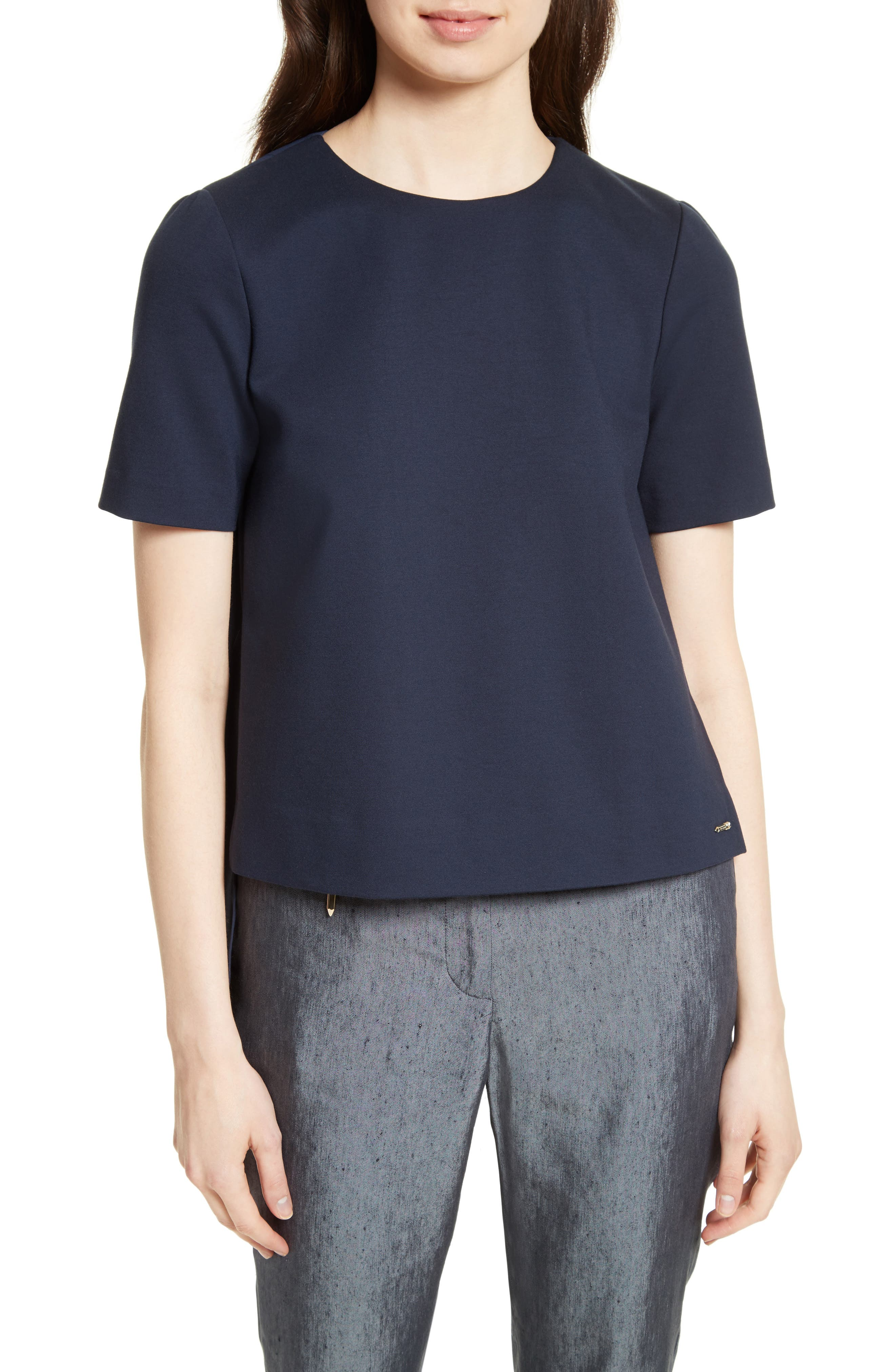 Ted Baker London Naevaa Pleat Back Ponte Top