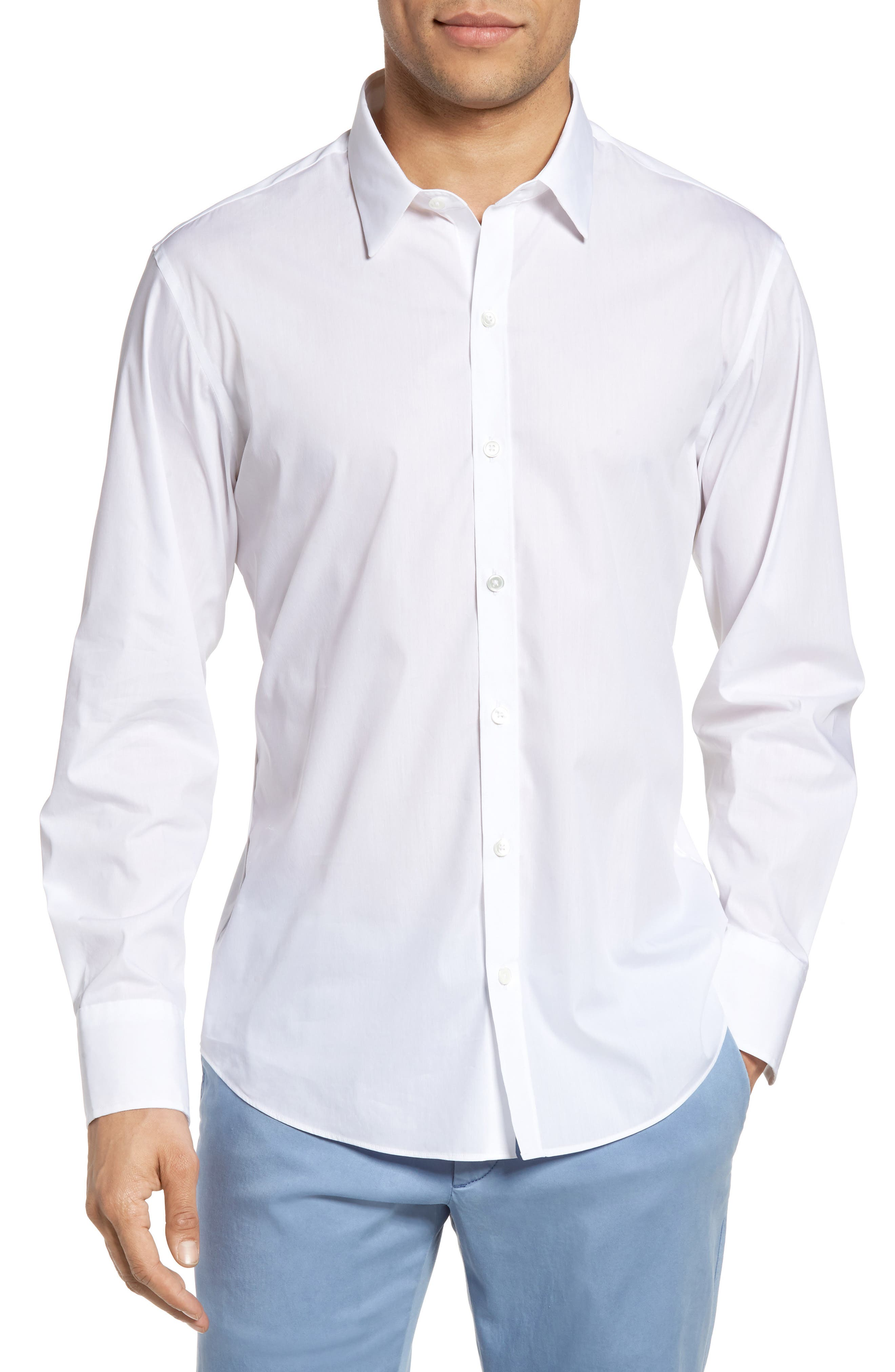Zachary Prell Mulberry Trim Fit Stretch Poplin Shirt