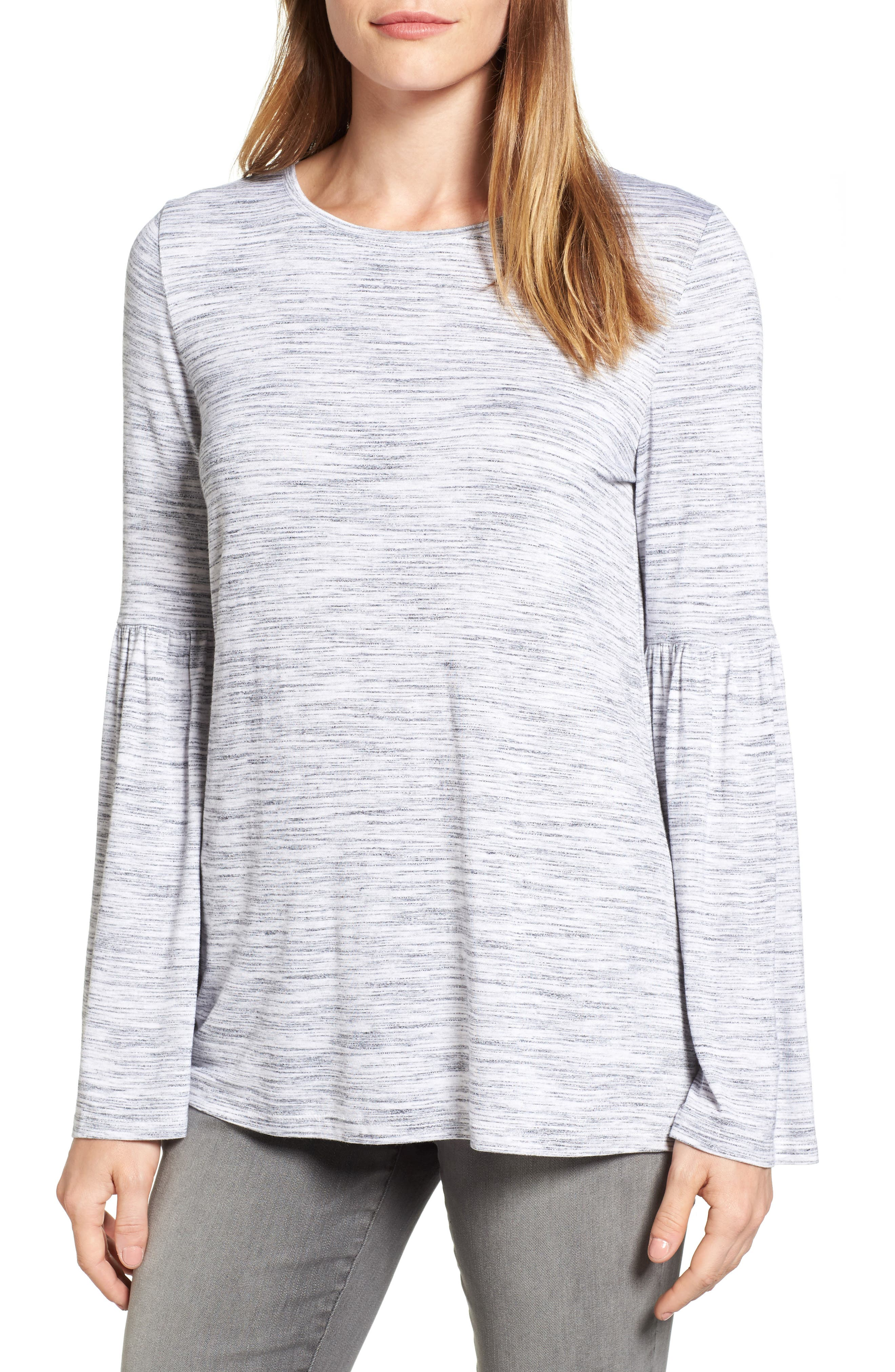 Two by Vince Camuto Jersey Bell Sleeve Top
