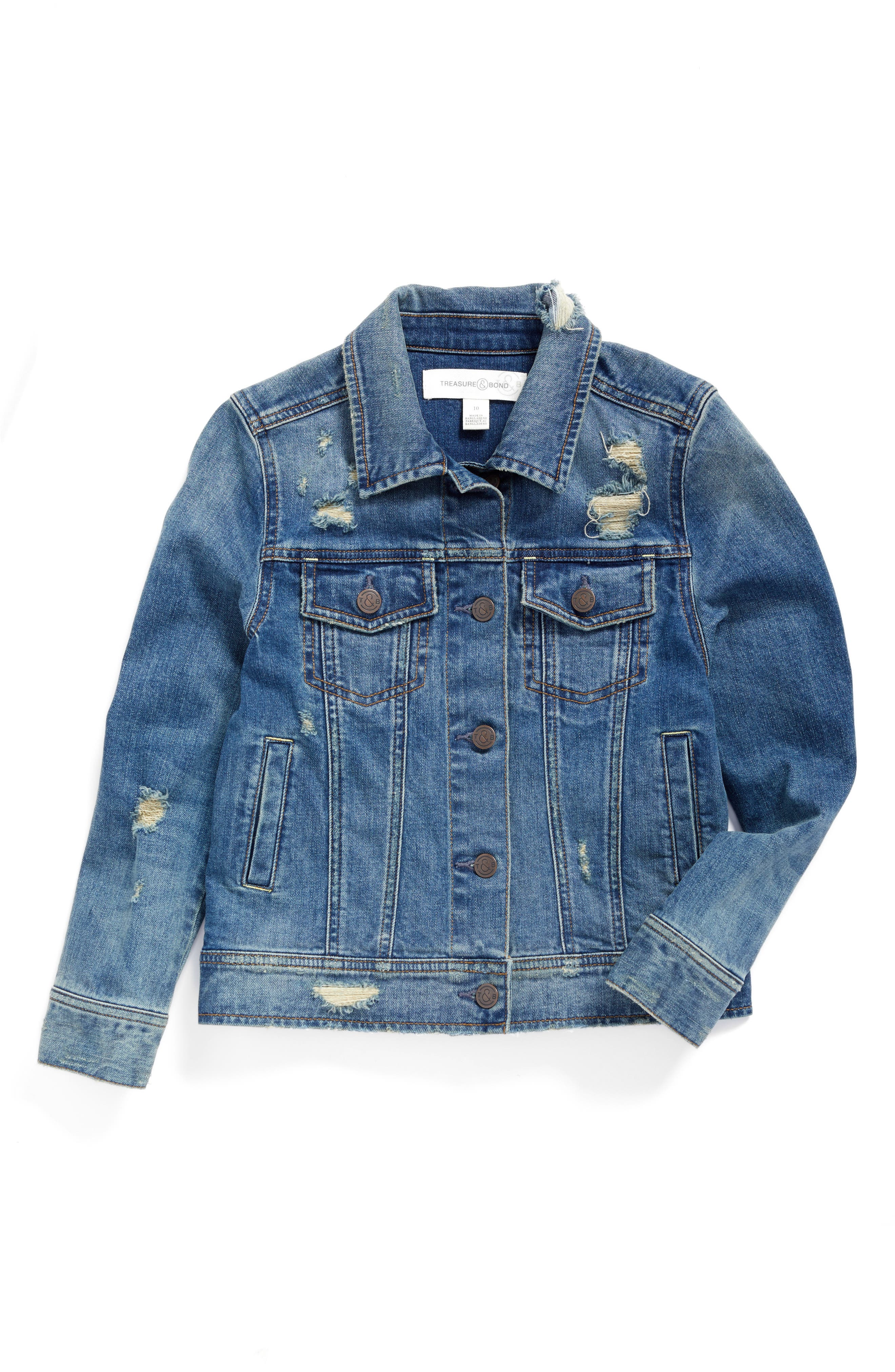 Treasure & Bond Favorite Distressed Denim Jacket (Big Girls)