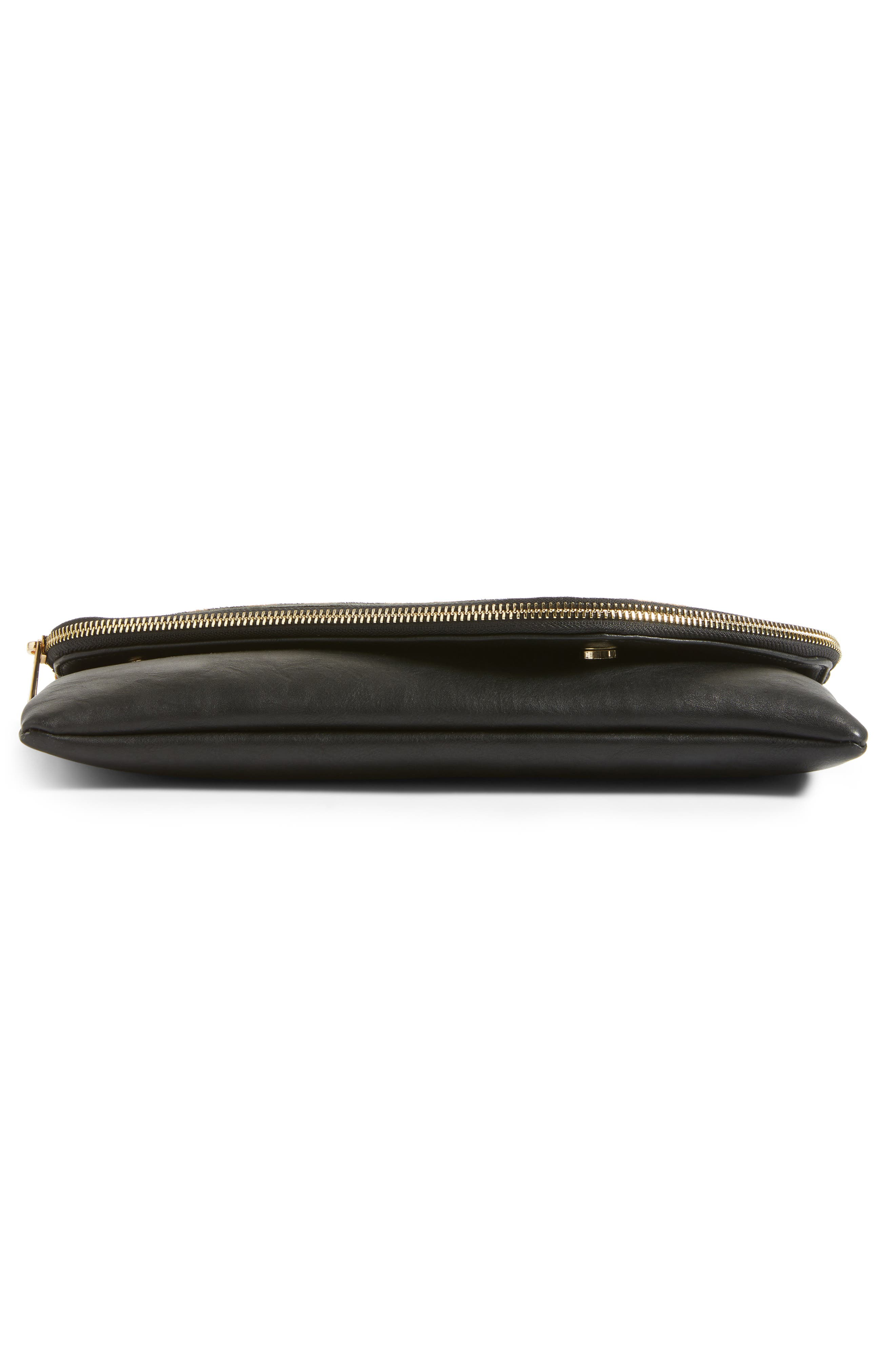 Alternate Image 6  - Sole Society Tamika Genuine Calf Hair & Faux Leather Foldover Clutch