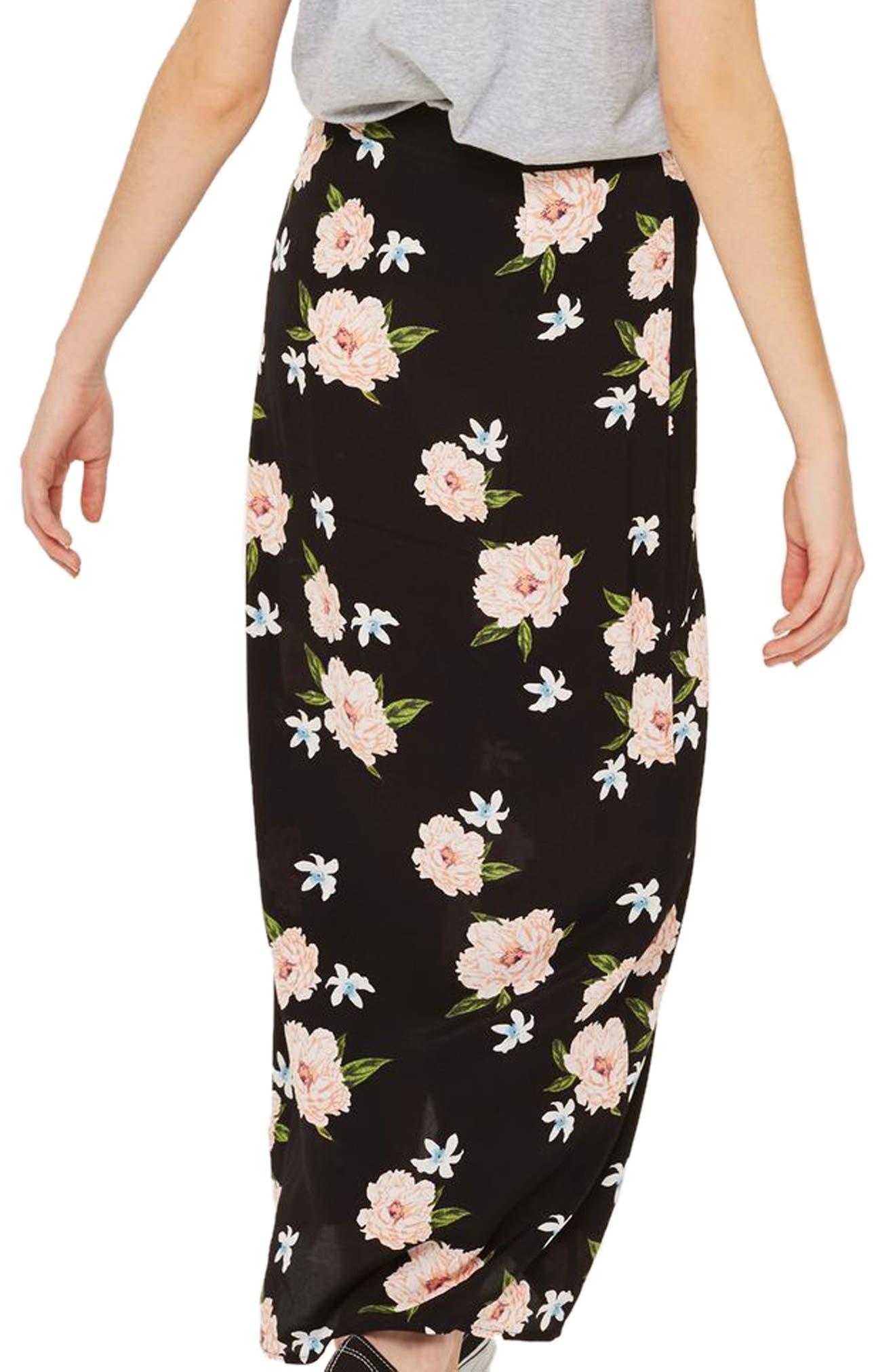 Alternate Image 3  - Topshop Split Floral Maxi Skirt