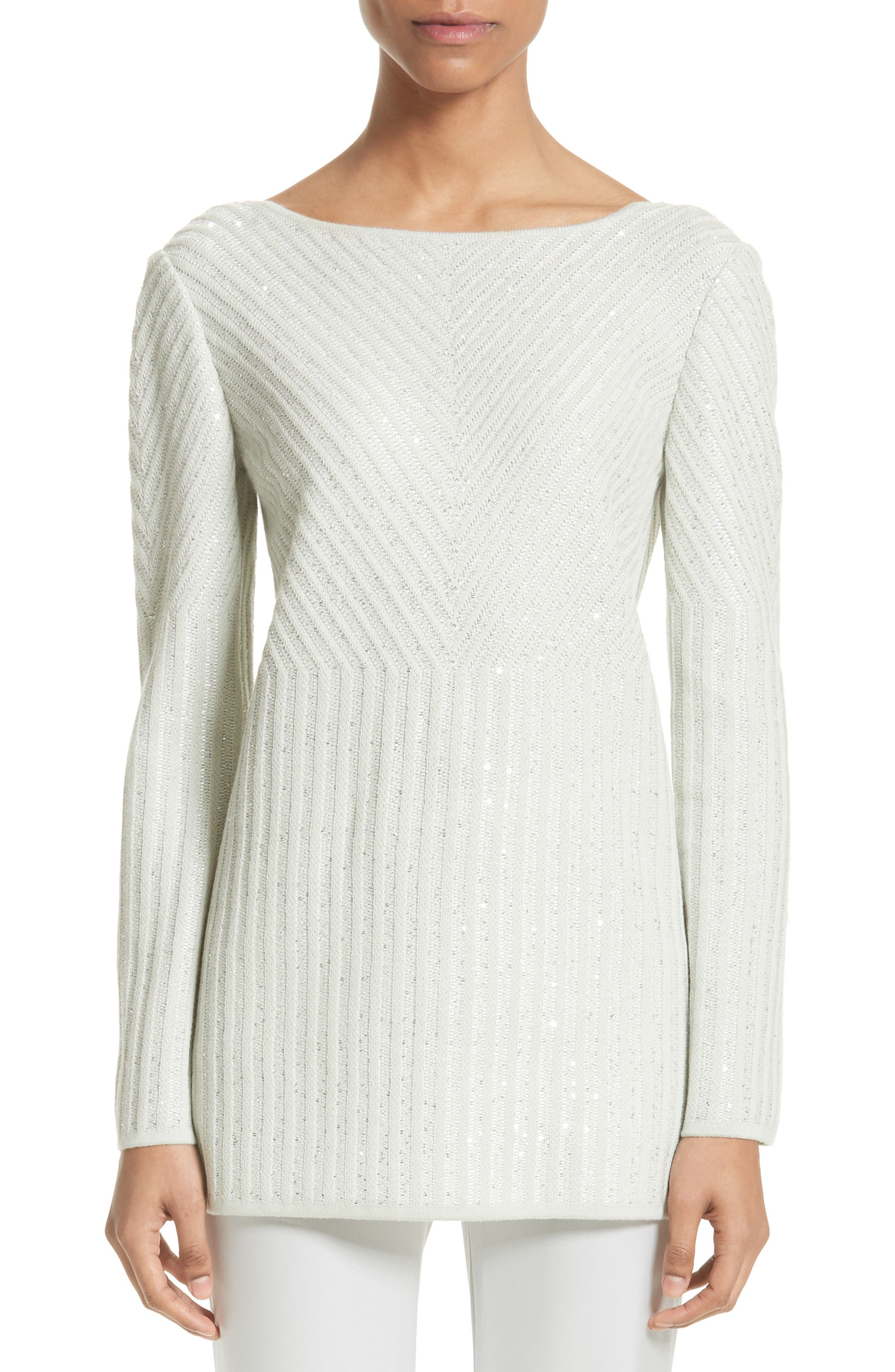 St. John Collection Sparkle Engineered Rib Sweater