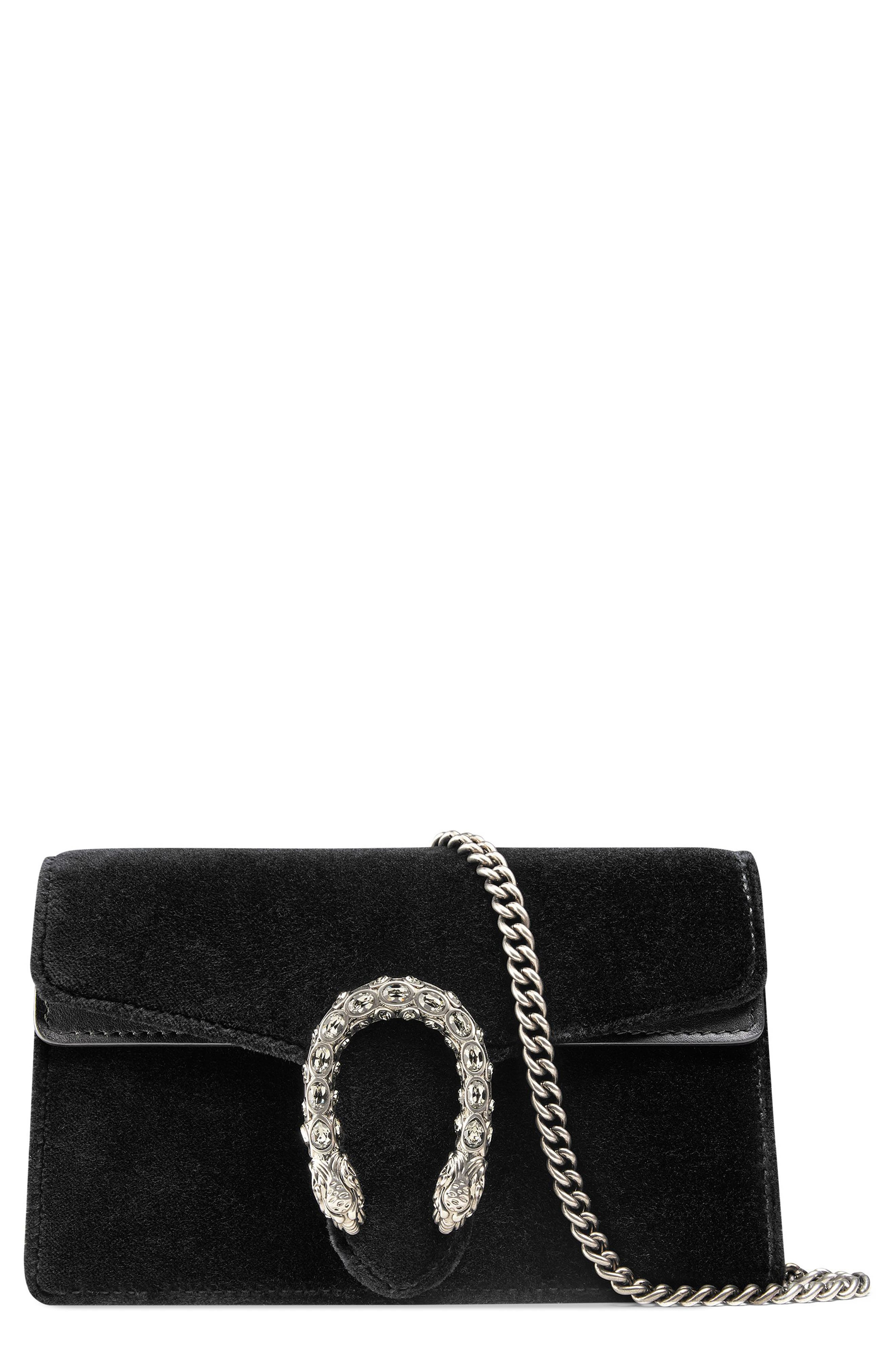 Alternate Image 1 Selected - Gucci Super Mini Dionysus Velvet Shoulder Bag