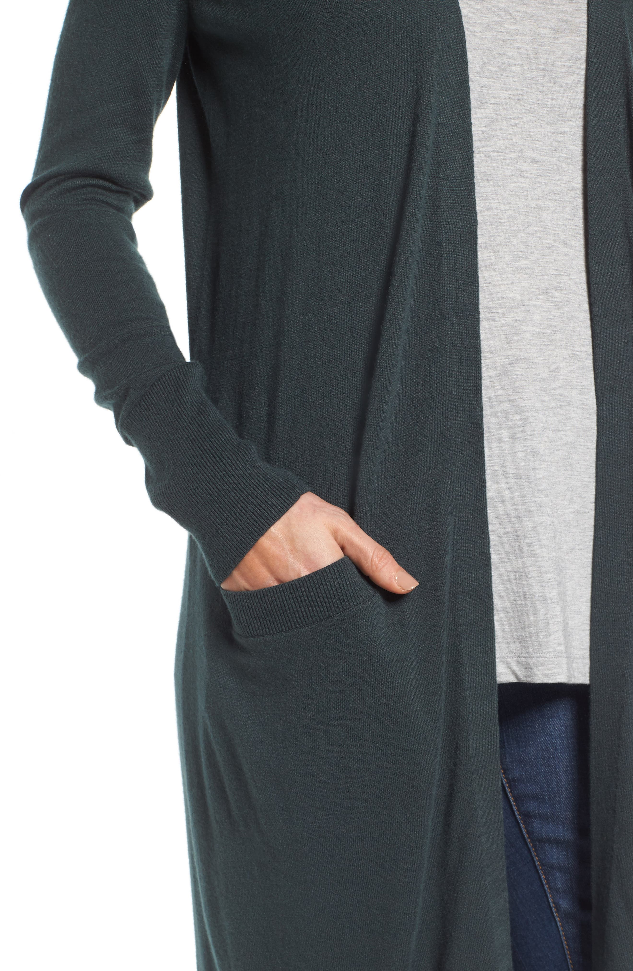 Alternate Image 4  - Halogen® Long Open Front Cardigan (Regular & Petite)