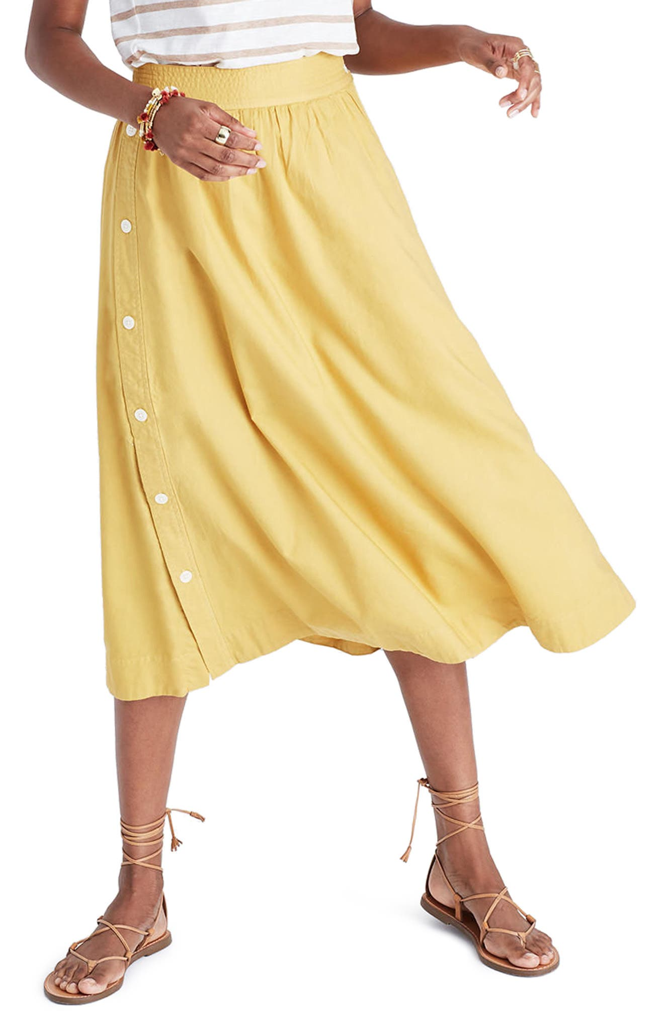 Main Image - Madewell Side Button Midi Skirt