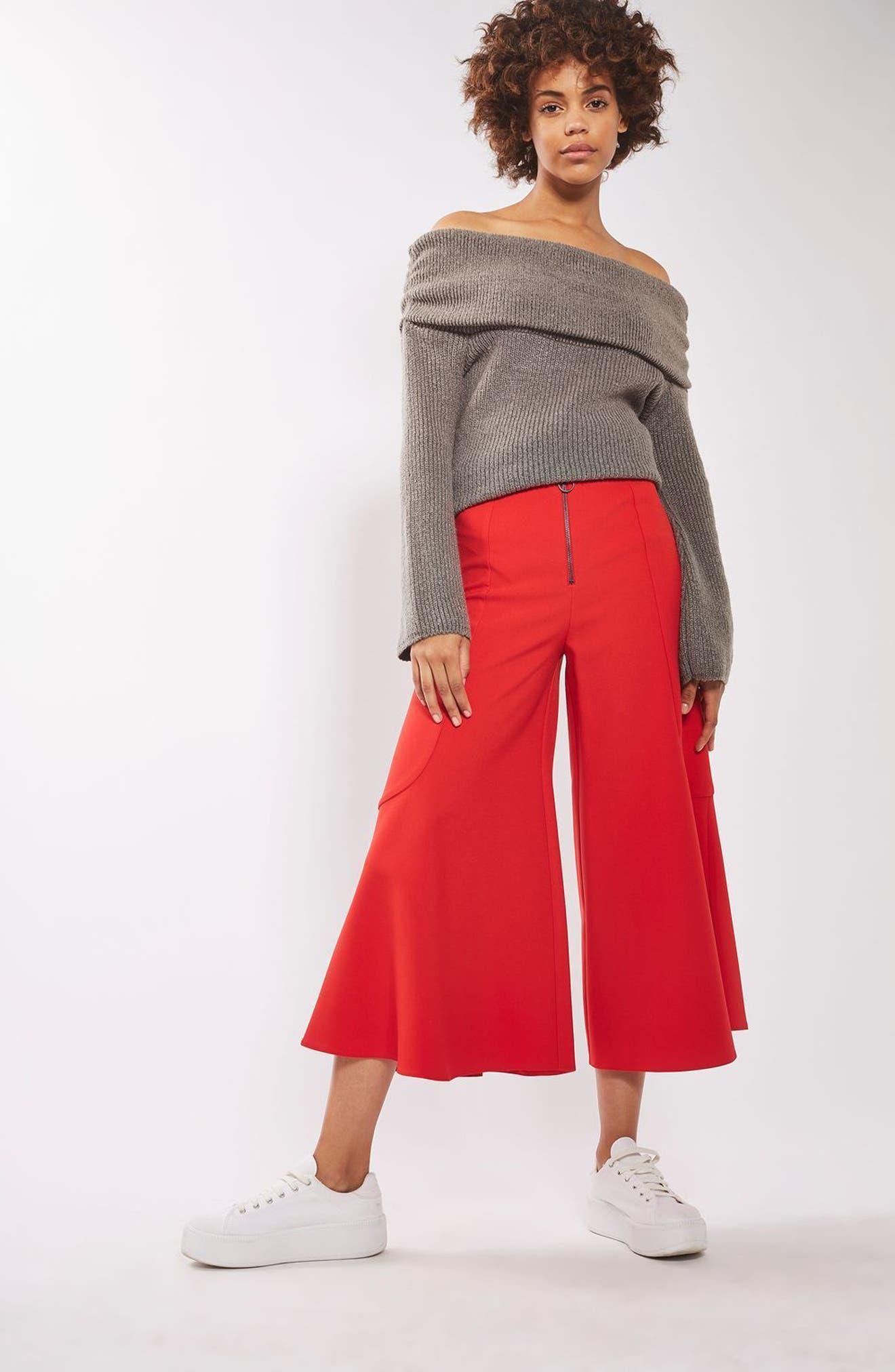Alternate Image 2  - Topshop Meg Zip Frill Palazzo Trousers
