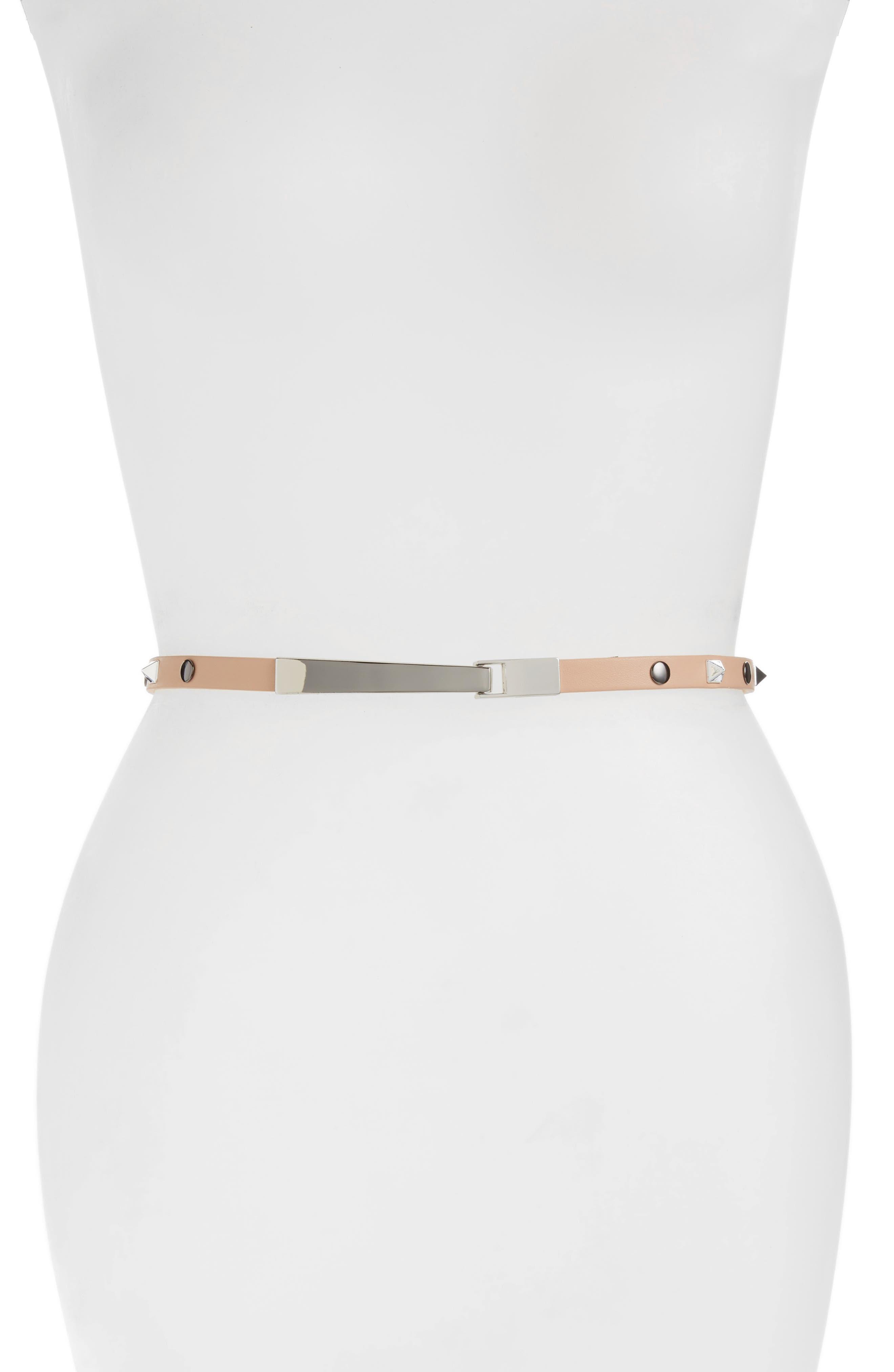 Halogen® Studded Faux Leather Belt